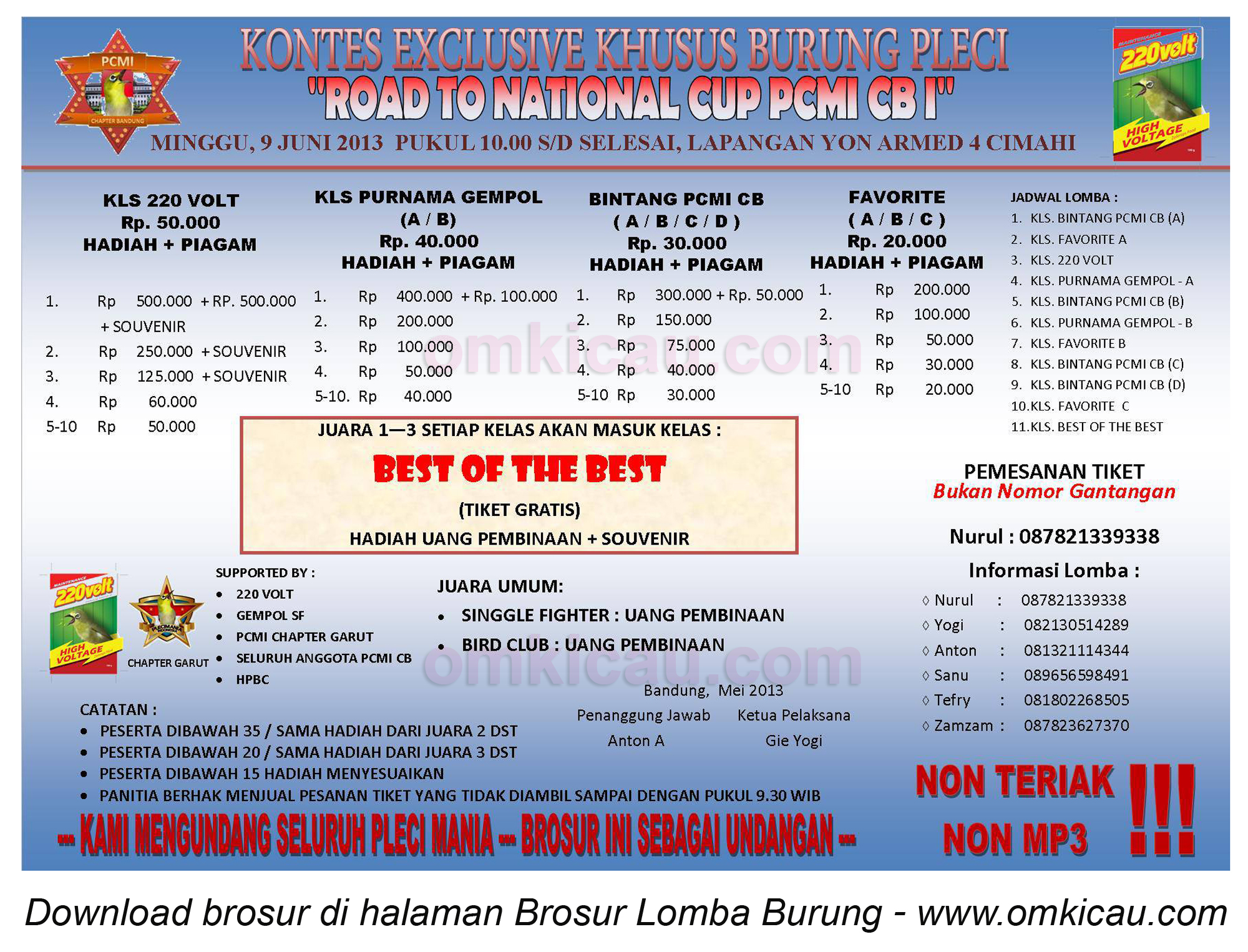 Brosur Lomba Burung Road to National Cup PCMI CB I