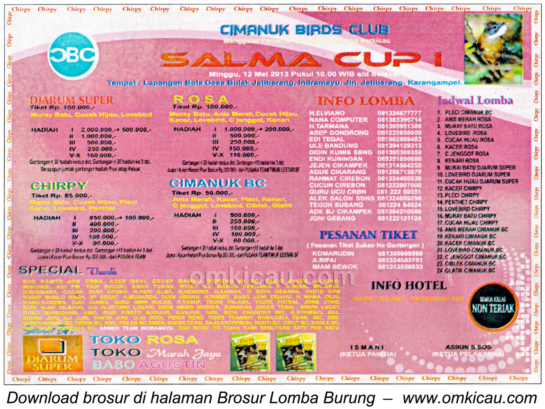 Brosur Lomba Burung Salma Cup - Indramayu - 12 Mei 2013