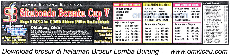 Brosur Lomba Burung Situbondo Bersatu Cup V -12 Mei 2013