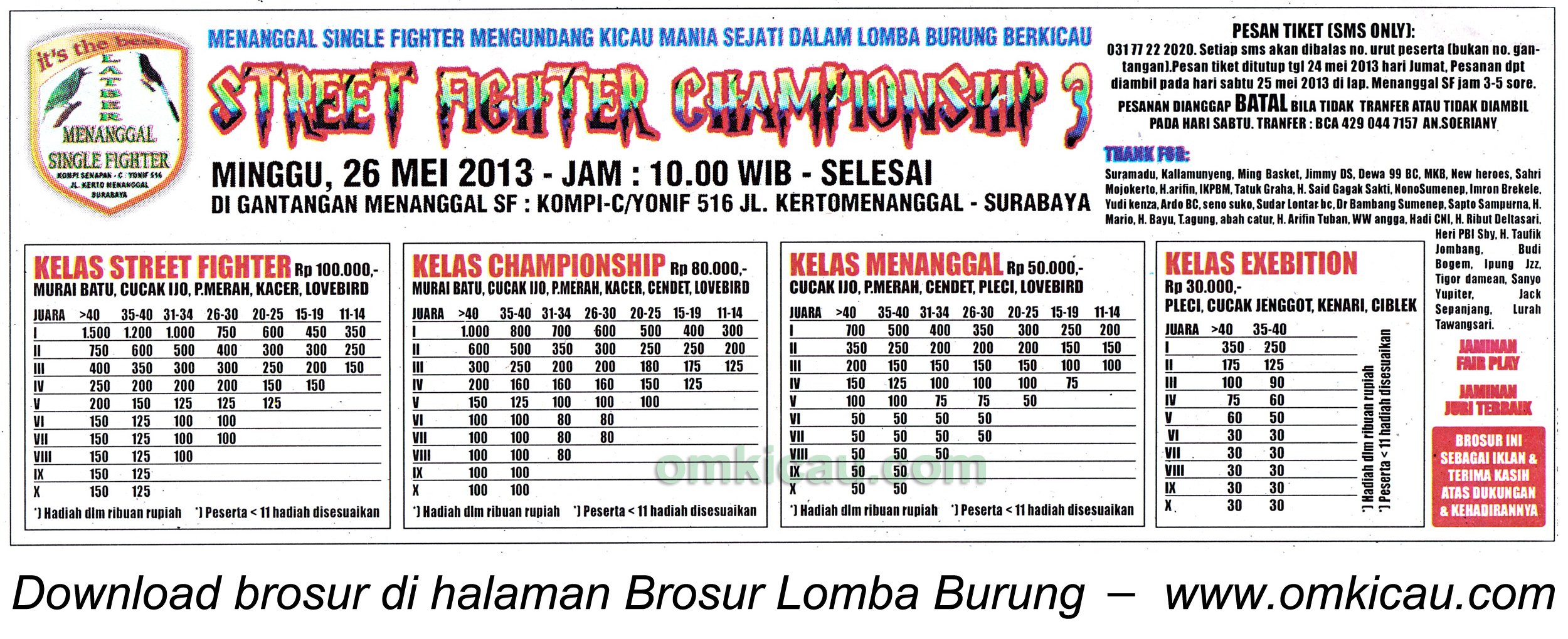Brosur Lomba Burung Street Fighter Championship