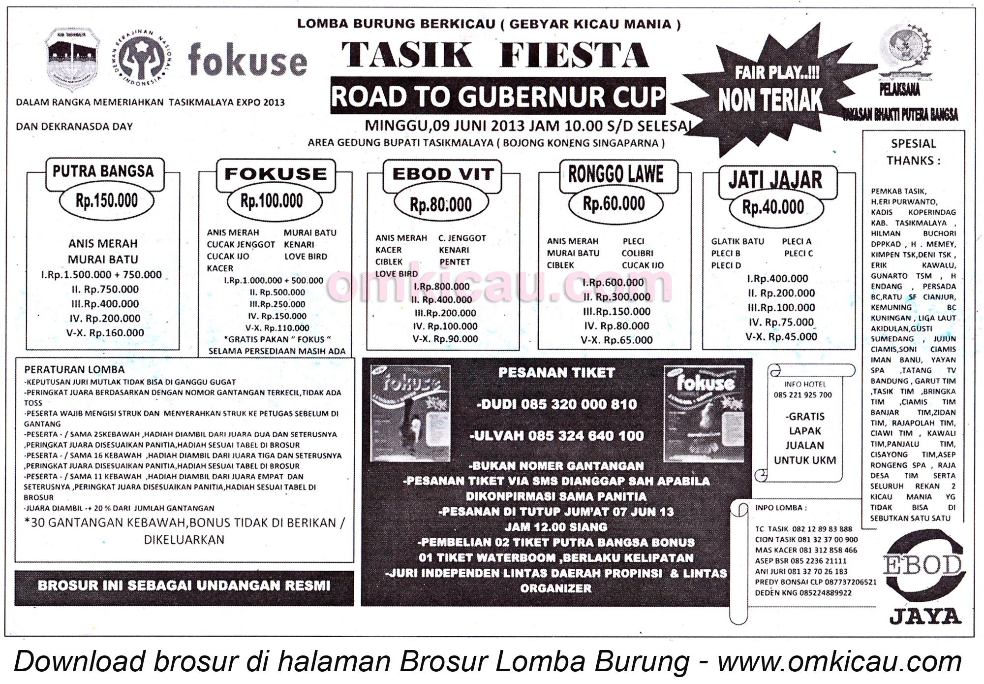 Brosur Lomba Burung Tasik Fiesta 9 Juni 2013