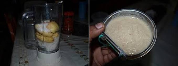 Nasi putih yang diblender dengan bahan lain untuk pakan serindit