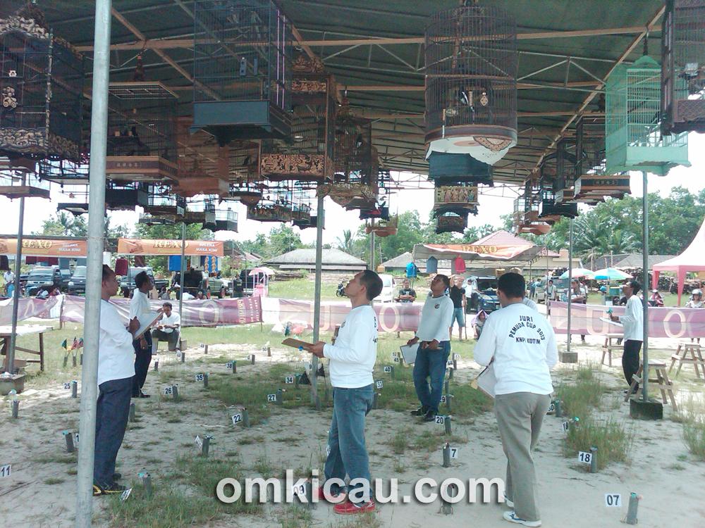Suasana lomba burung Pemuda Cup I di Sampit, Minggu (26/5).