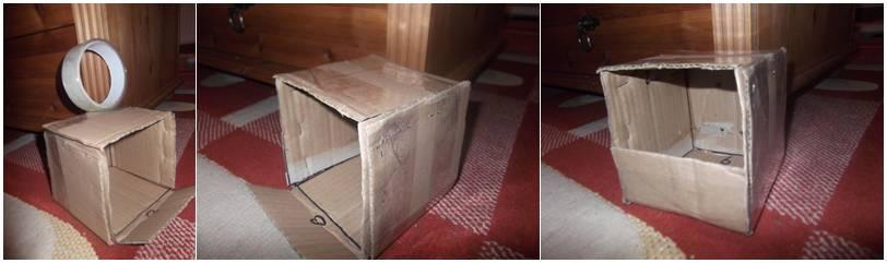 Menggunakan lakban untuk mengencangkan kotak dan membuat pintu masuk
