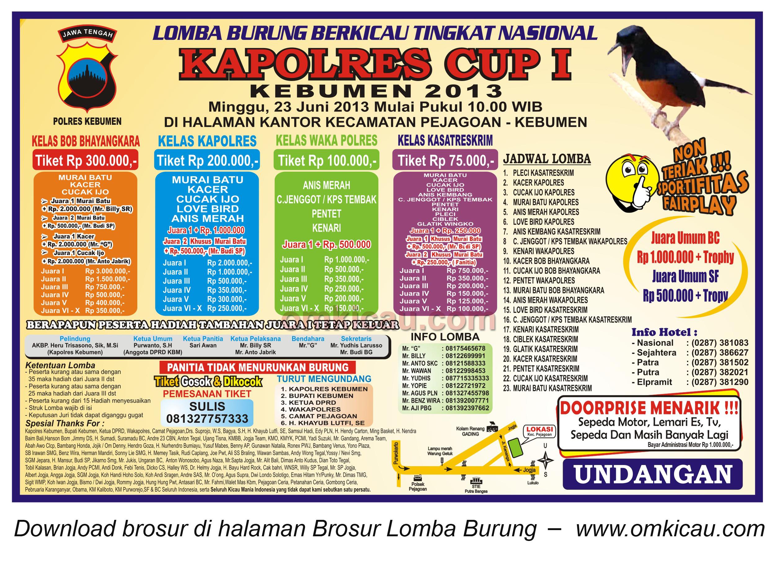 BROSUR Kapolres CUP 1 Kebumen - 23 Juni 2013