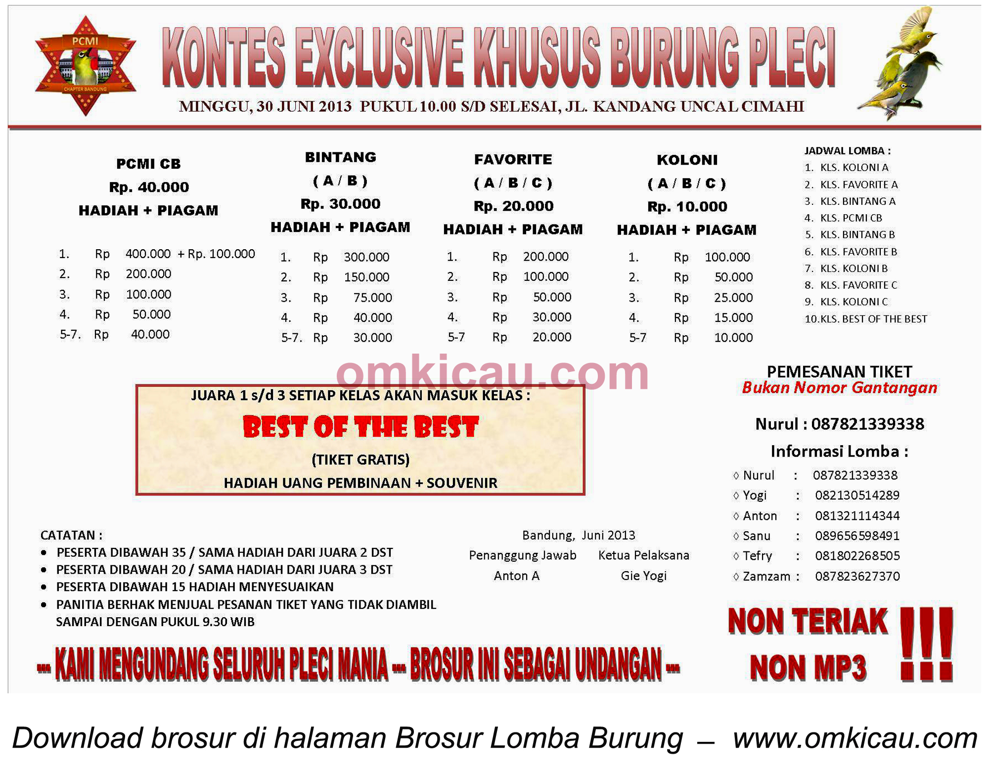 Brosur Kontes Exclusive Burung Pleci, Cimahi, 30 Juni 2013