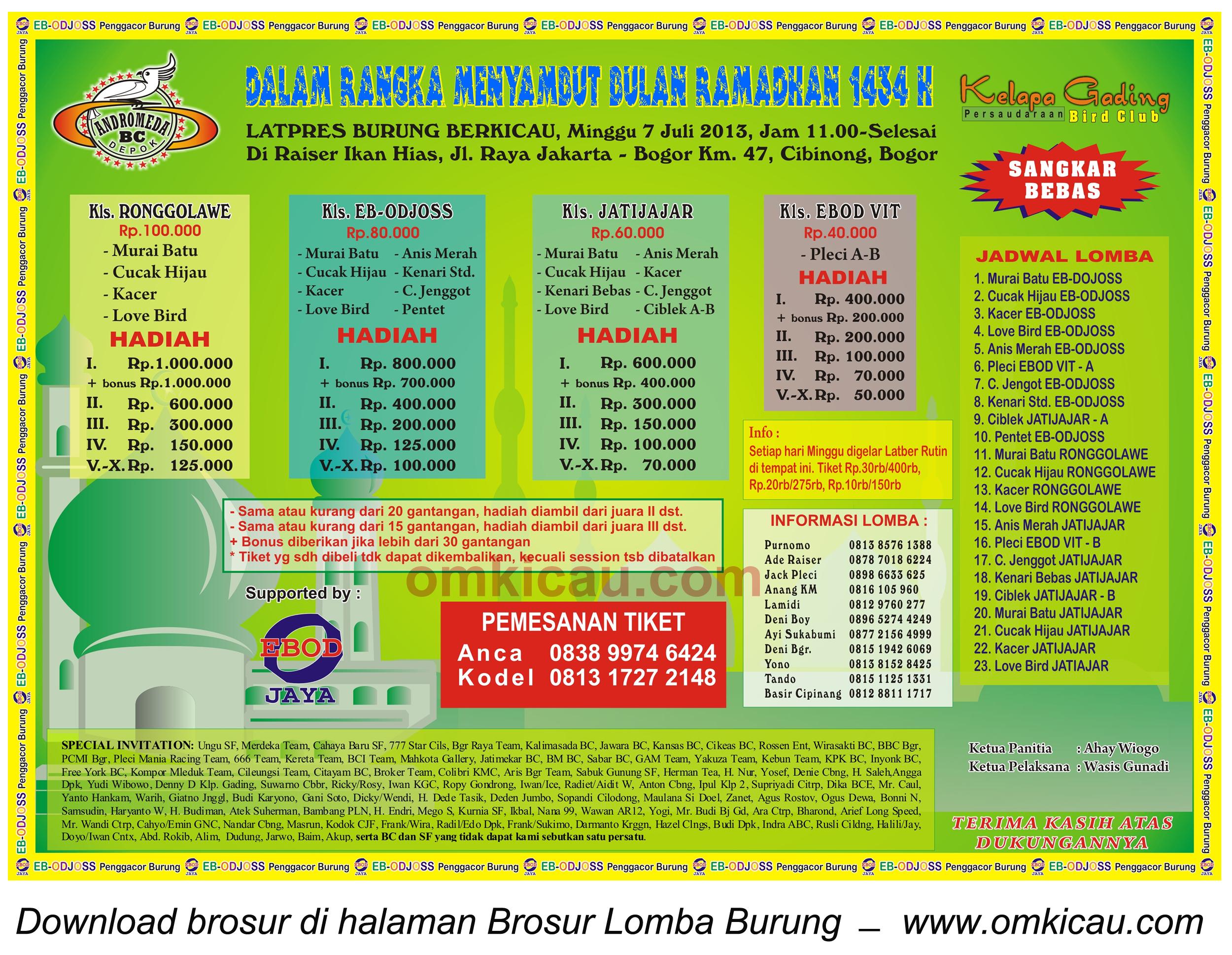 Brosur Latpres Burung Berkicau, Cibinong-Bogor, 7 Juli 2013