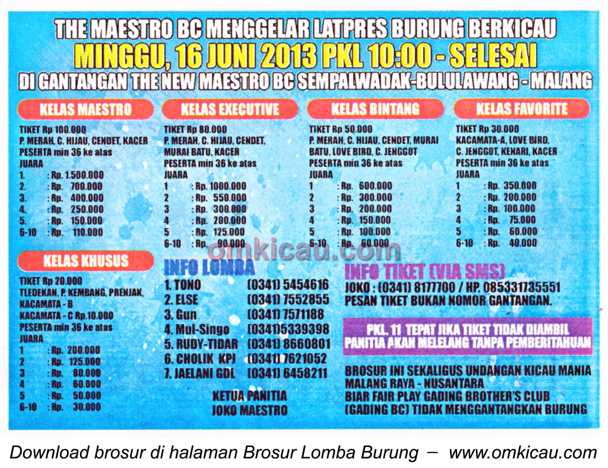 Brosur Latpres Maestro BC Malang - 16 Juni 2013