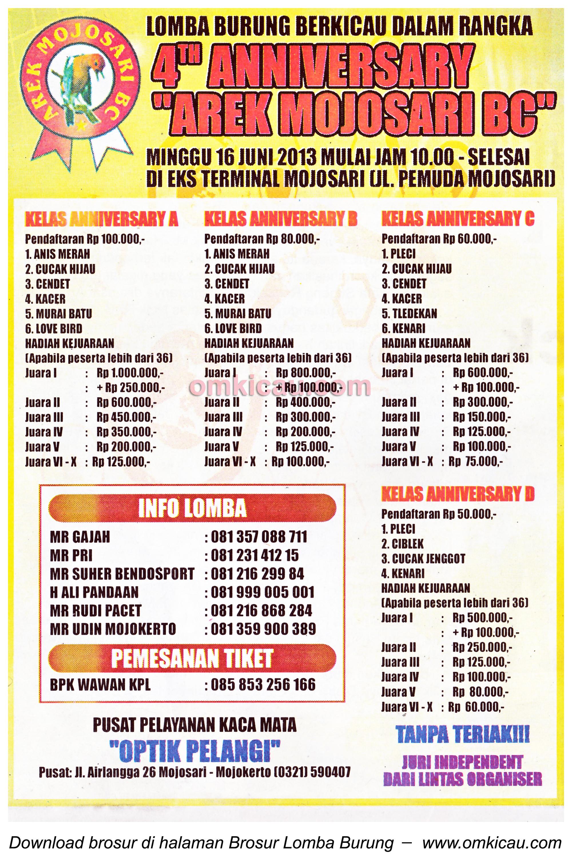 Brosur Lomba 4th Anniversary Arek Mojosari BC 16 Juni 2013