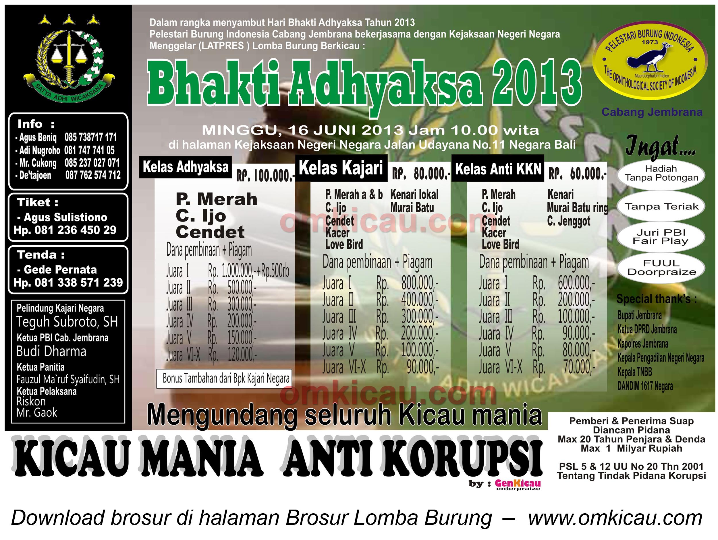 Brosur Lomba Bhakti Adhyasa Negara Bali 16 Juni 2013
