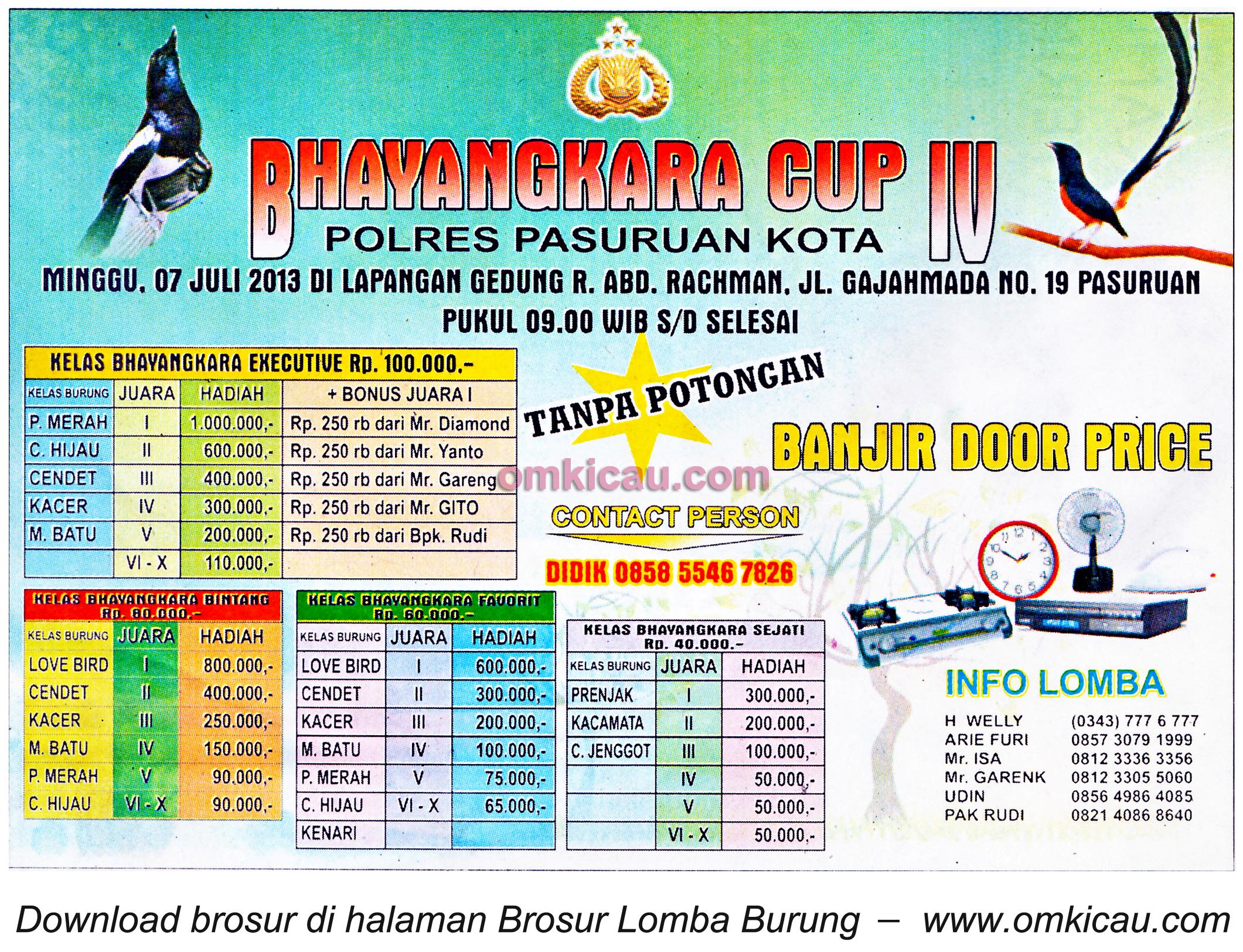 Brosur Lomba Bhayangkara Cup IV Pasuruan 7 Juli 2013