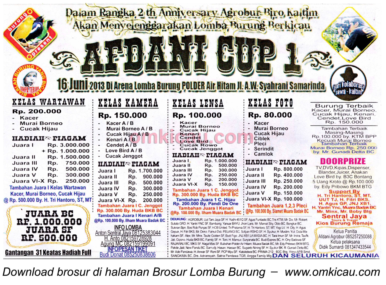Brosur Lomba Burung Afdani Cup 1 16 Juni 2013