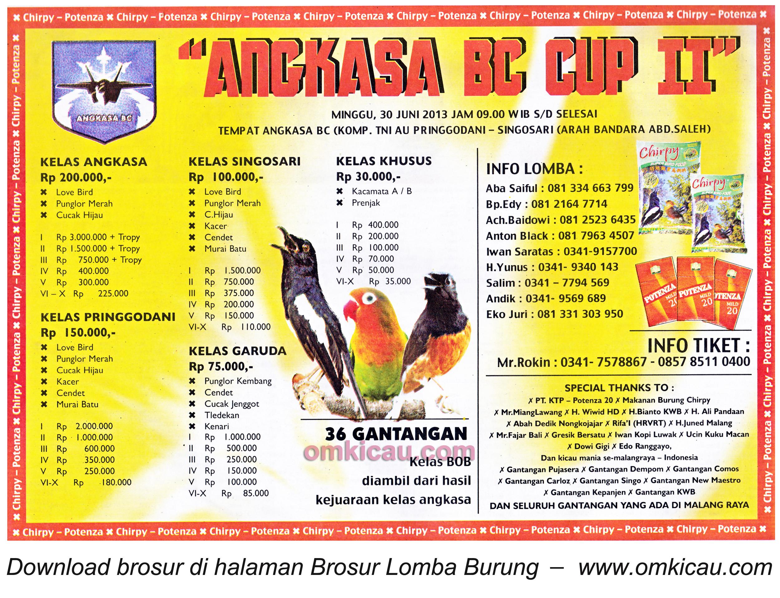 Brosur Lomba Burung Angkasa BC Cup Kab Malang 30 Juni 2013