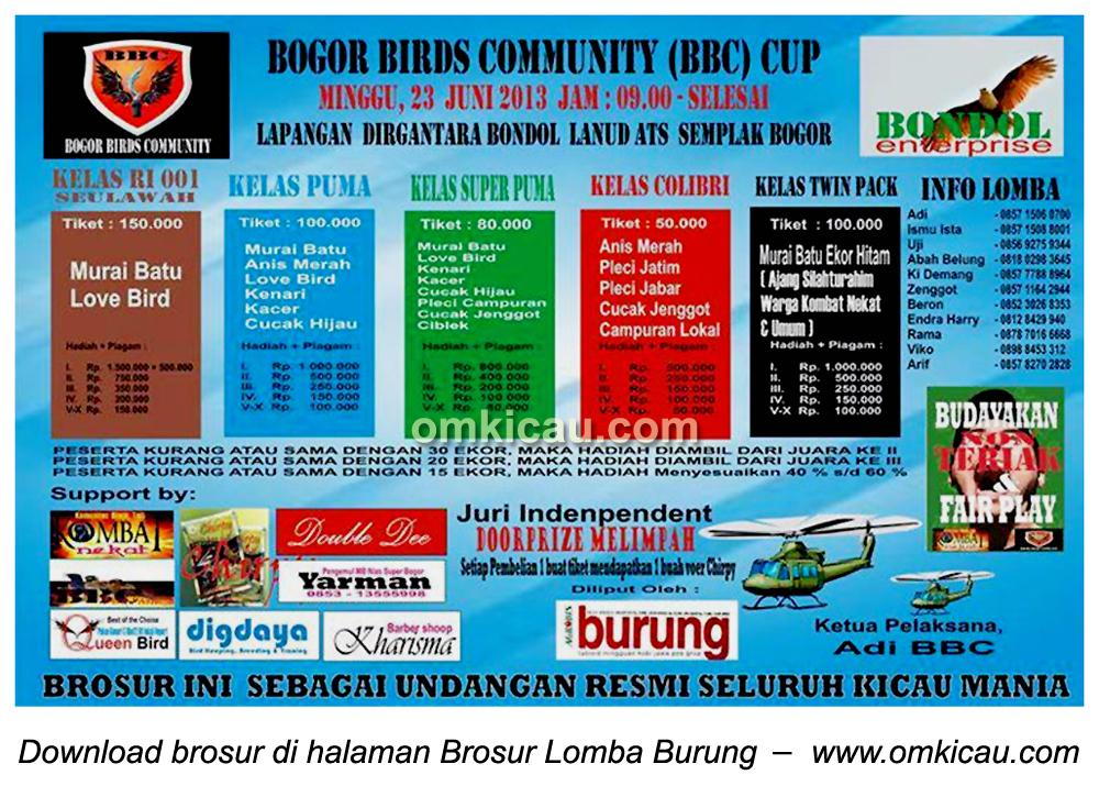 Brosur Lomba Burung BBC Cup Bogor 23 Juni 2013