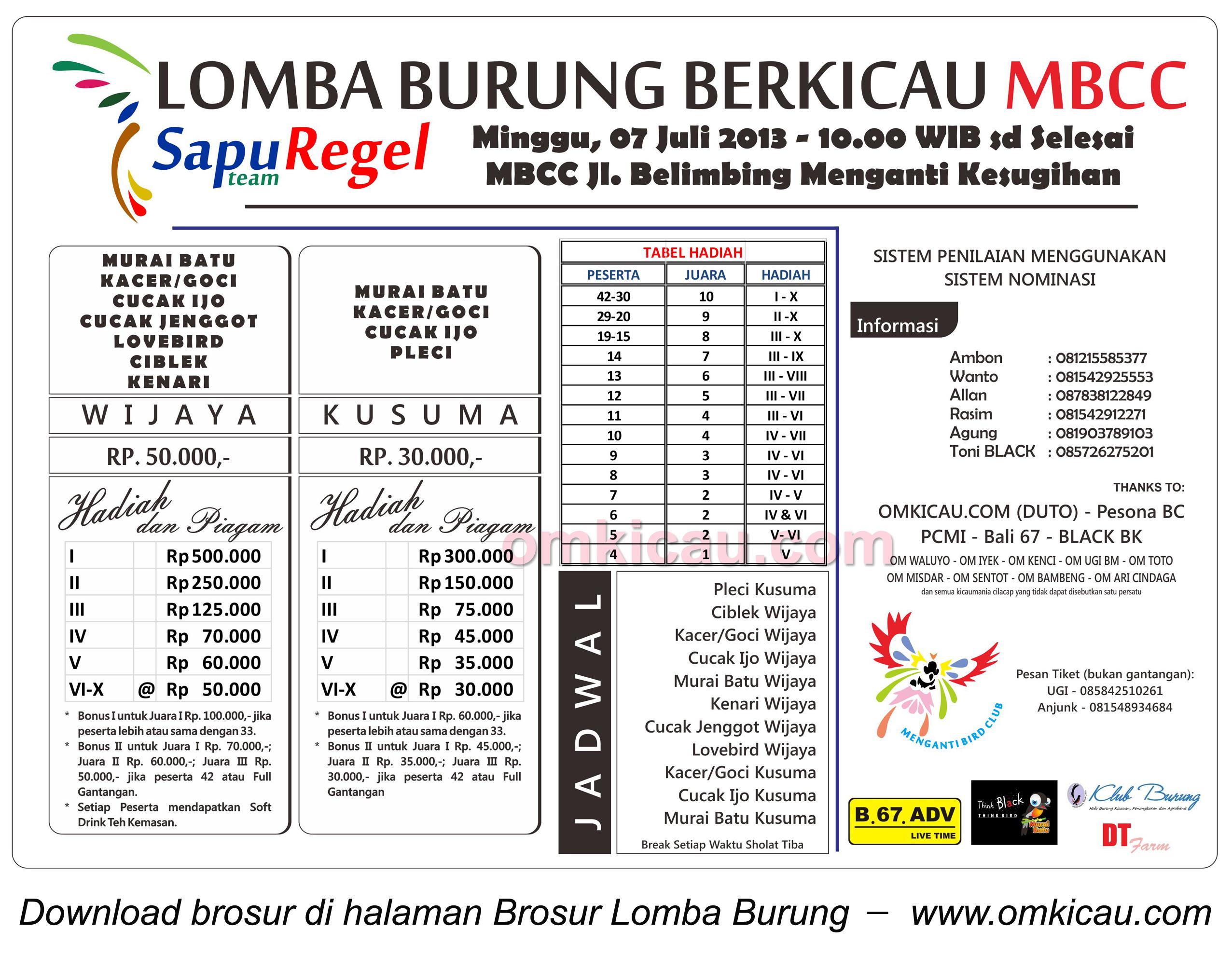 Brosur Lomba Burung Berkicau MBCC Cilacap - 7 Juli 2013