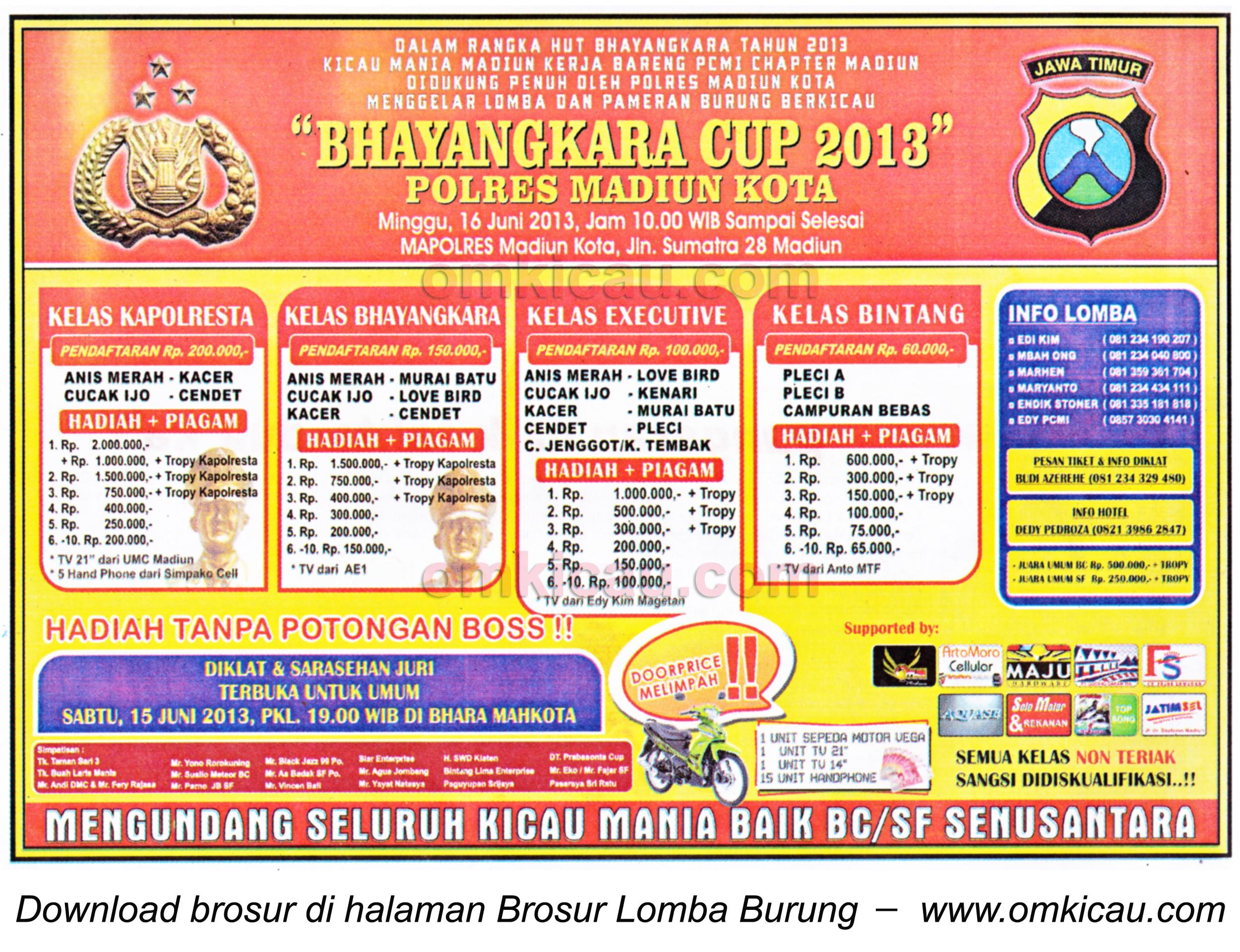 Brosur Lomba Burung Bhayangkara Cup Madiun 16 Juni 2013