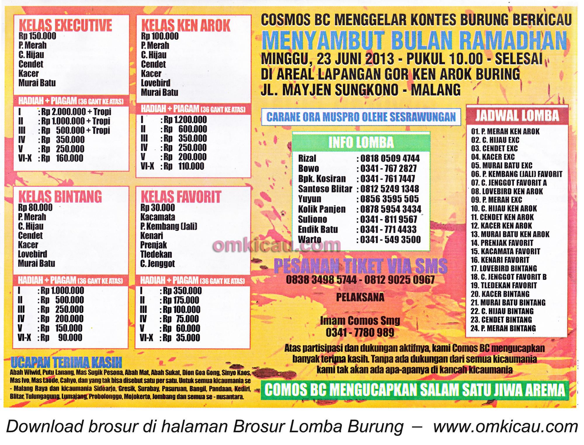 Brosur Lomba Burung Cosmos BC Malang 30 Juni 2013