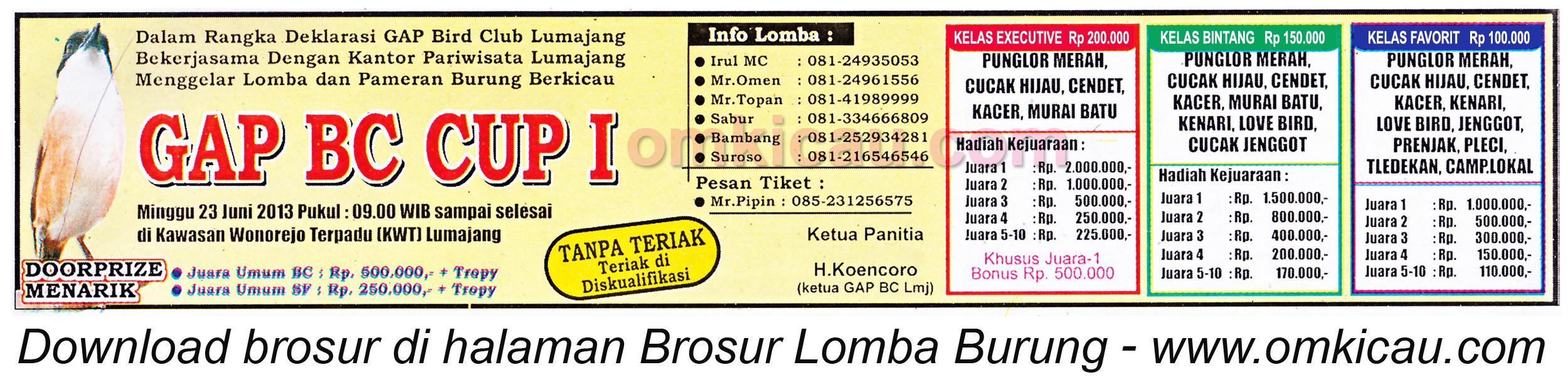 Brosur Lomba Burung GAP BC Cup Lumajang 23 Juni 2013