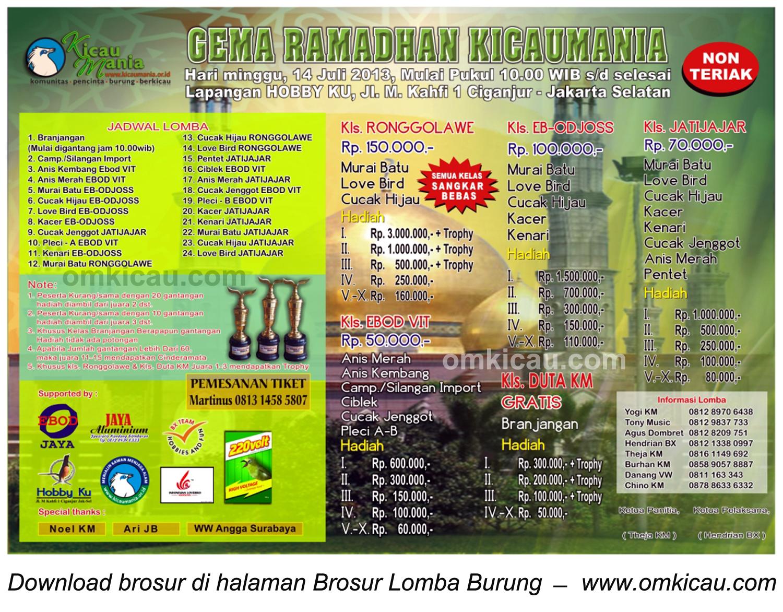 BROSUR LOMBA BURUNG GEMA RAMADHAN KICAUMANIA, JAKARTA, 14 JULI 2013