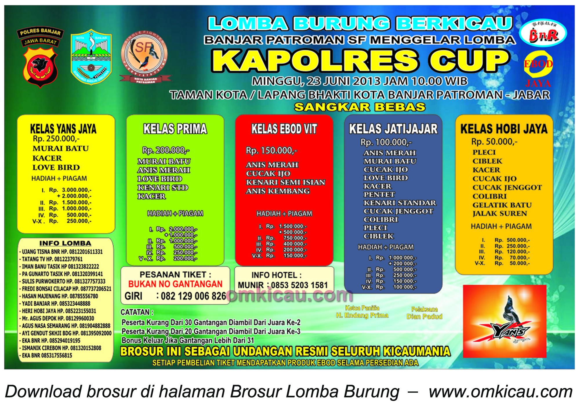 Brosur Lomba Burung Kapolres Cup Banjar Patroman 30 Juni 2013