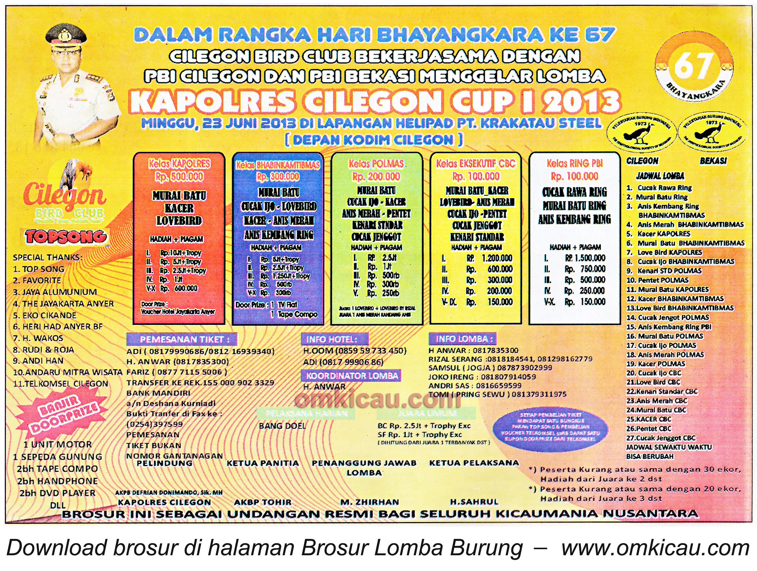 Brosur Lomba Burung Kapolres Cup Cilegon 23 Juni 2013