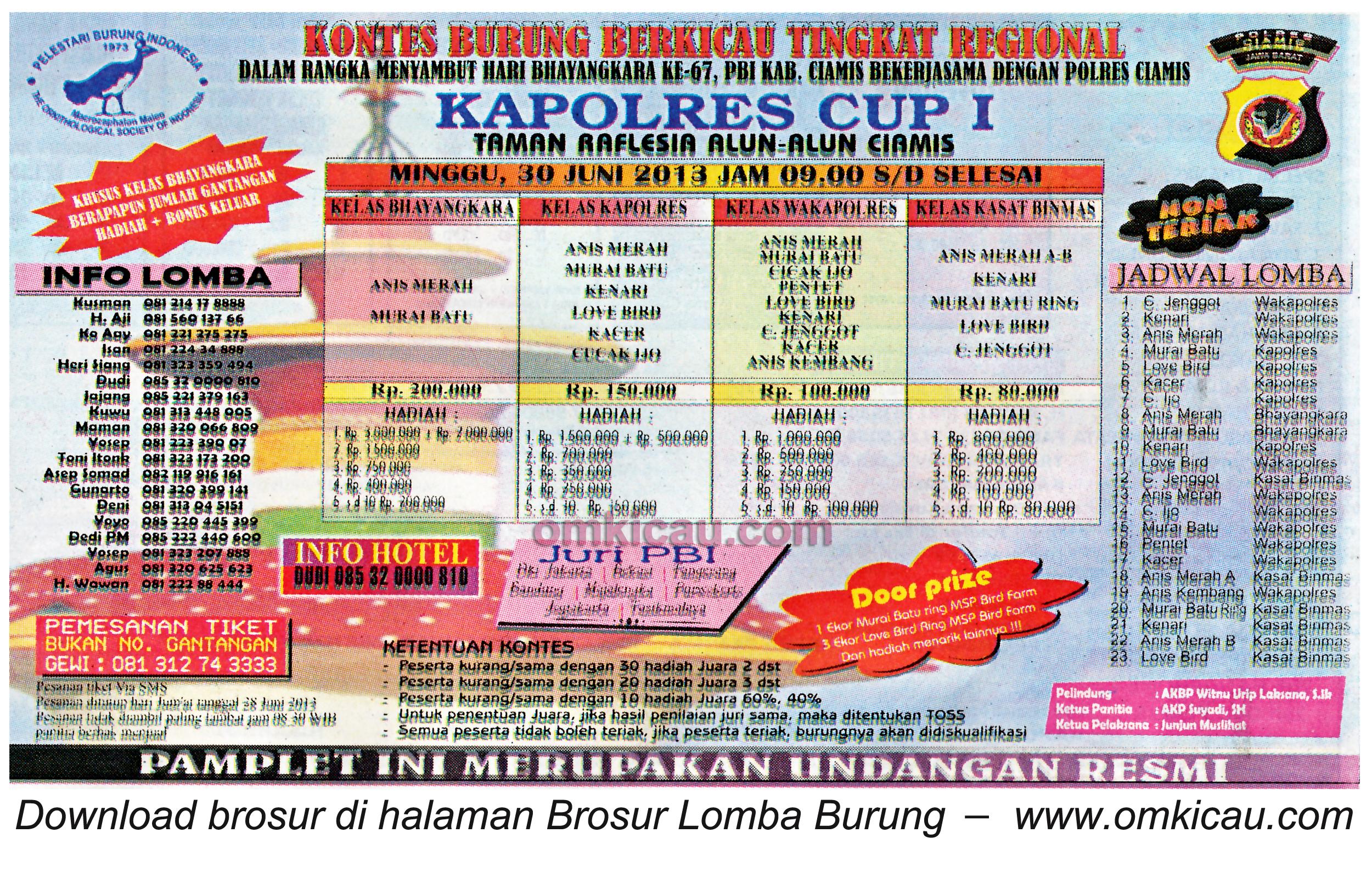 Brosur Lomba Burung Kapolres Cup I Ciamis 30 Juni 2013