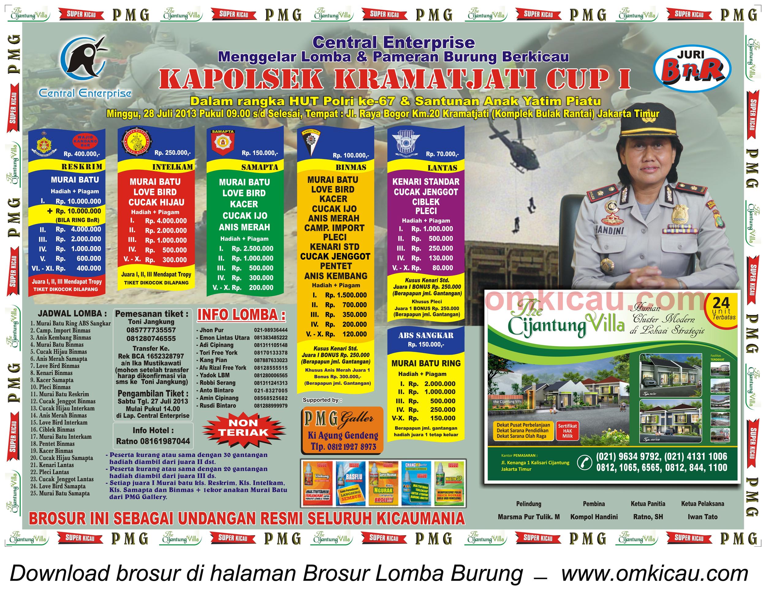 Brosur Lomba Burung Kapolsek Kramatjati Cup I - Jakarta - 28 Juli 2013