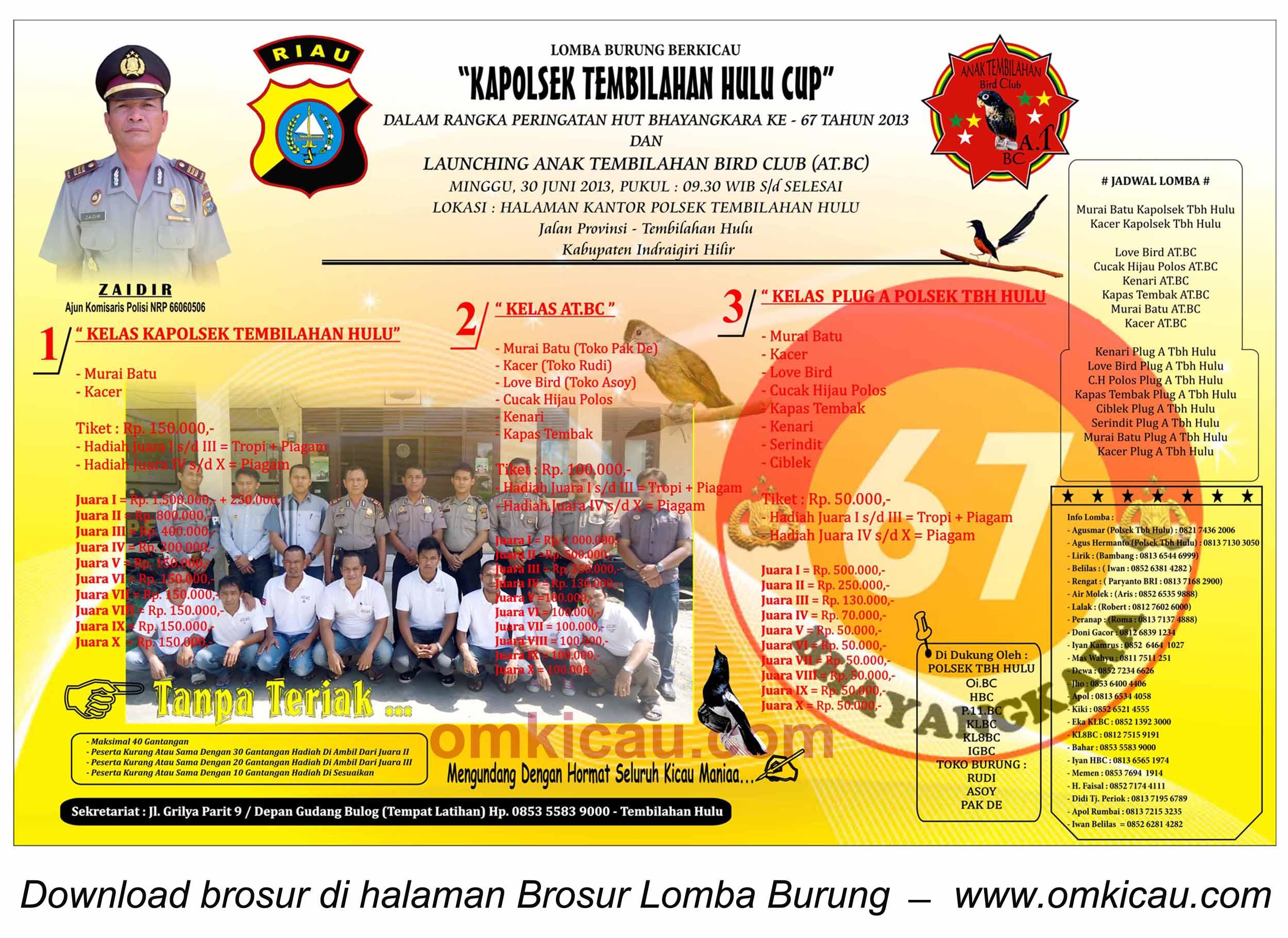 Brosur Lomba Burung Kapolsek Tembilahan Hulu Cup, 30 Juni 2013