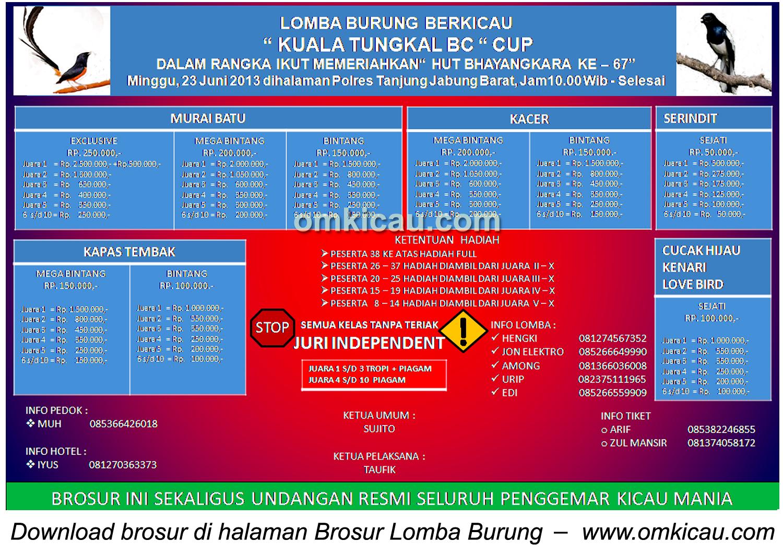 Brosur Lomba Burung Kuala Tungkal BC Cup, Tanjab, 23 Juni 2013