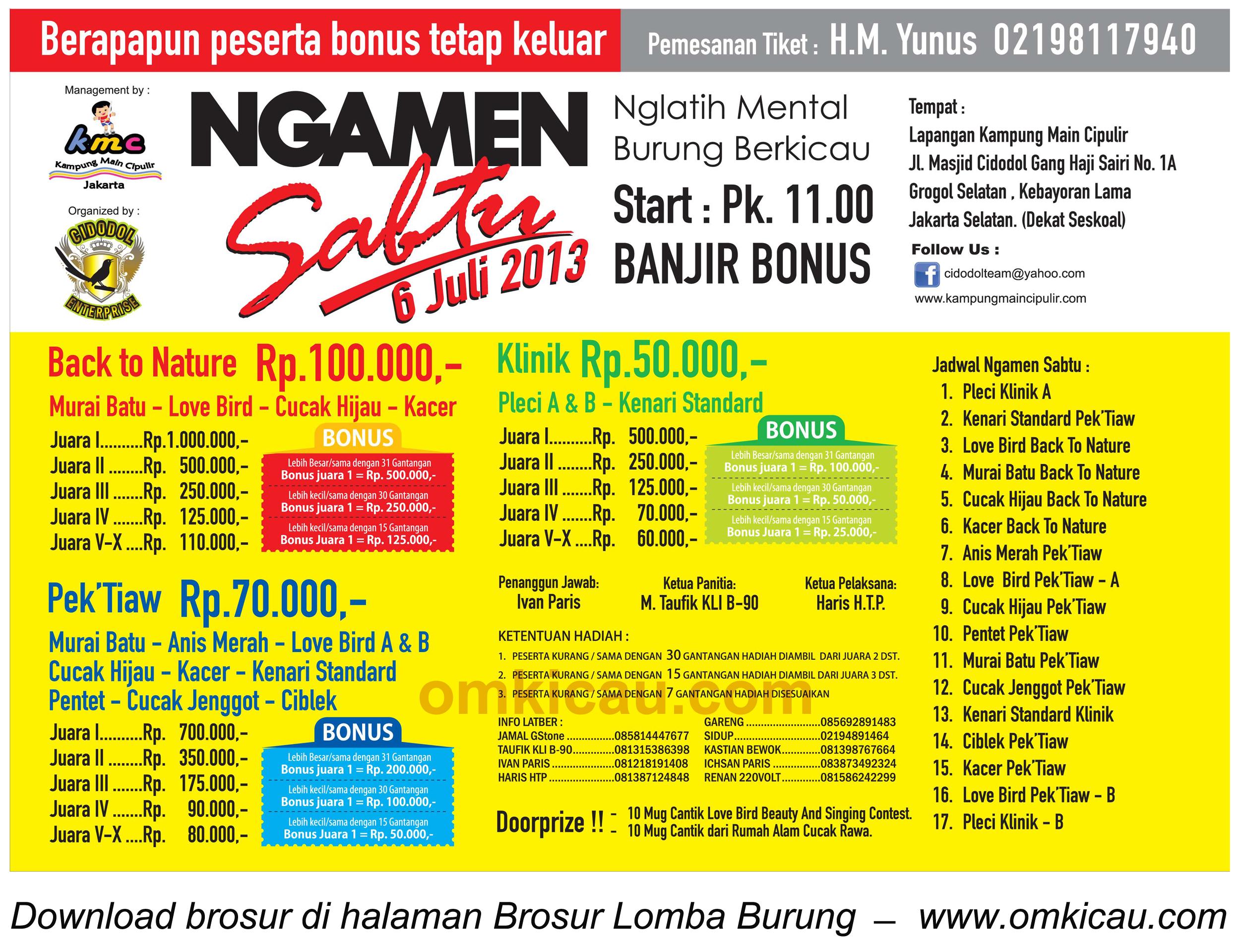 Brosur Lomba Burung Ngamen, KMC Jakarta, 6 Juli 2013