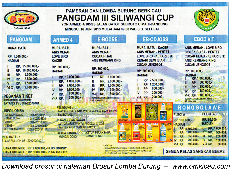 Brosur Lomba Burung Pangdam Siliwangi Cup 16 Juni 2013