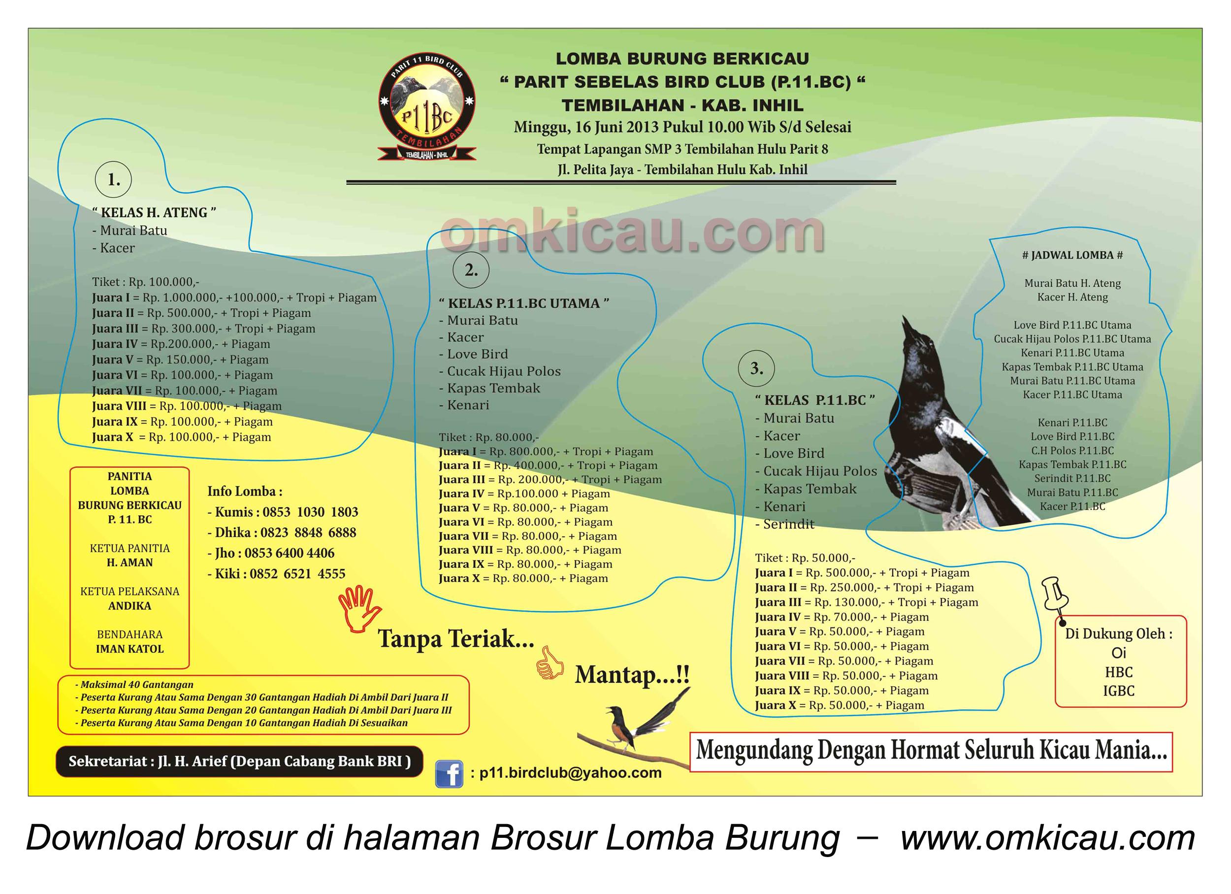 Brosur Lomba Burung Parit 11 BC, Tembilahan Hulu, 16 Juni 2013