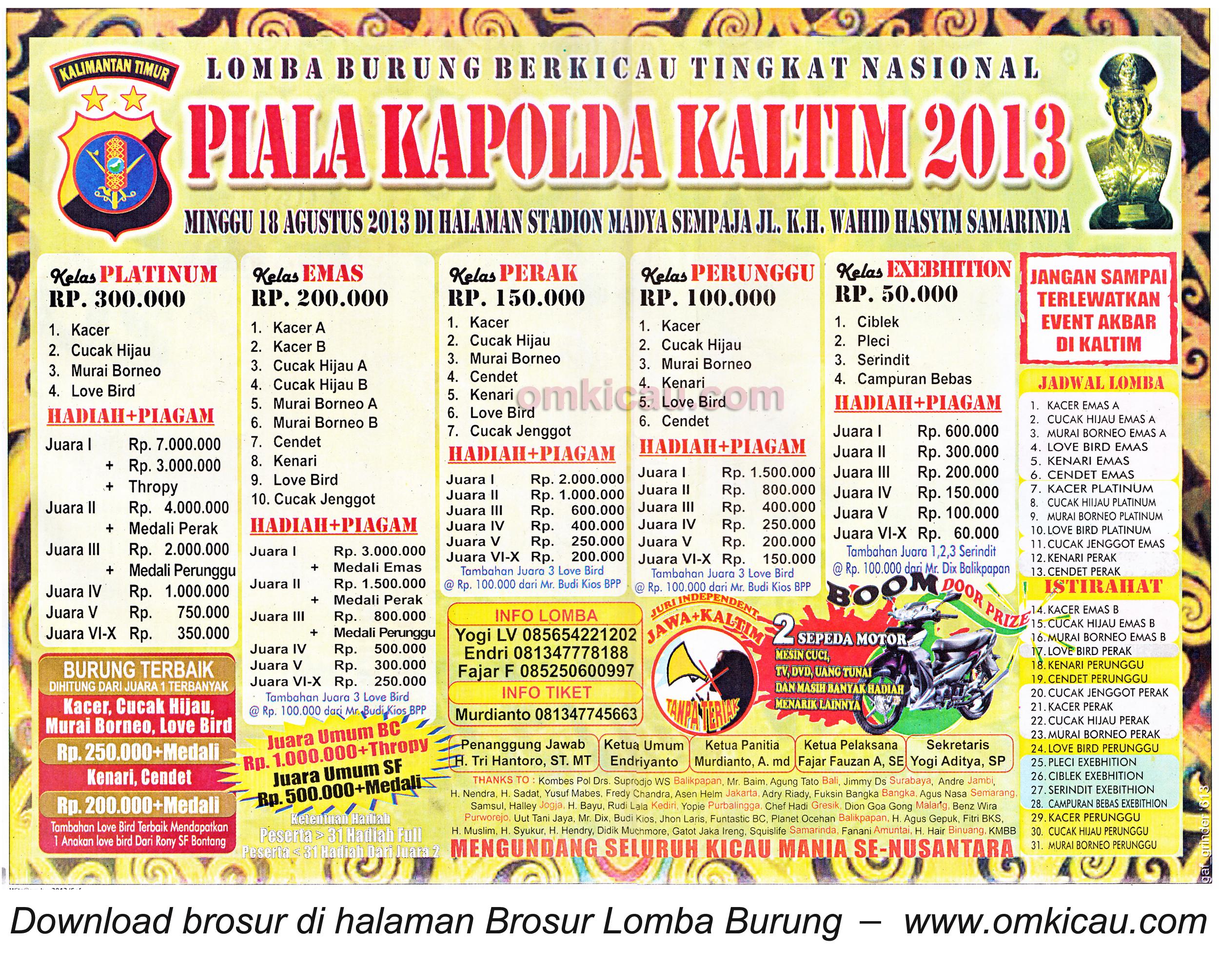 Brosur Lomba Burung Piala Kapolda Kaltim 18 Agustus 2013
