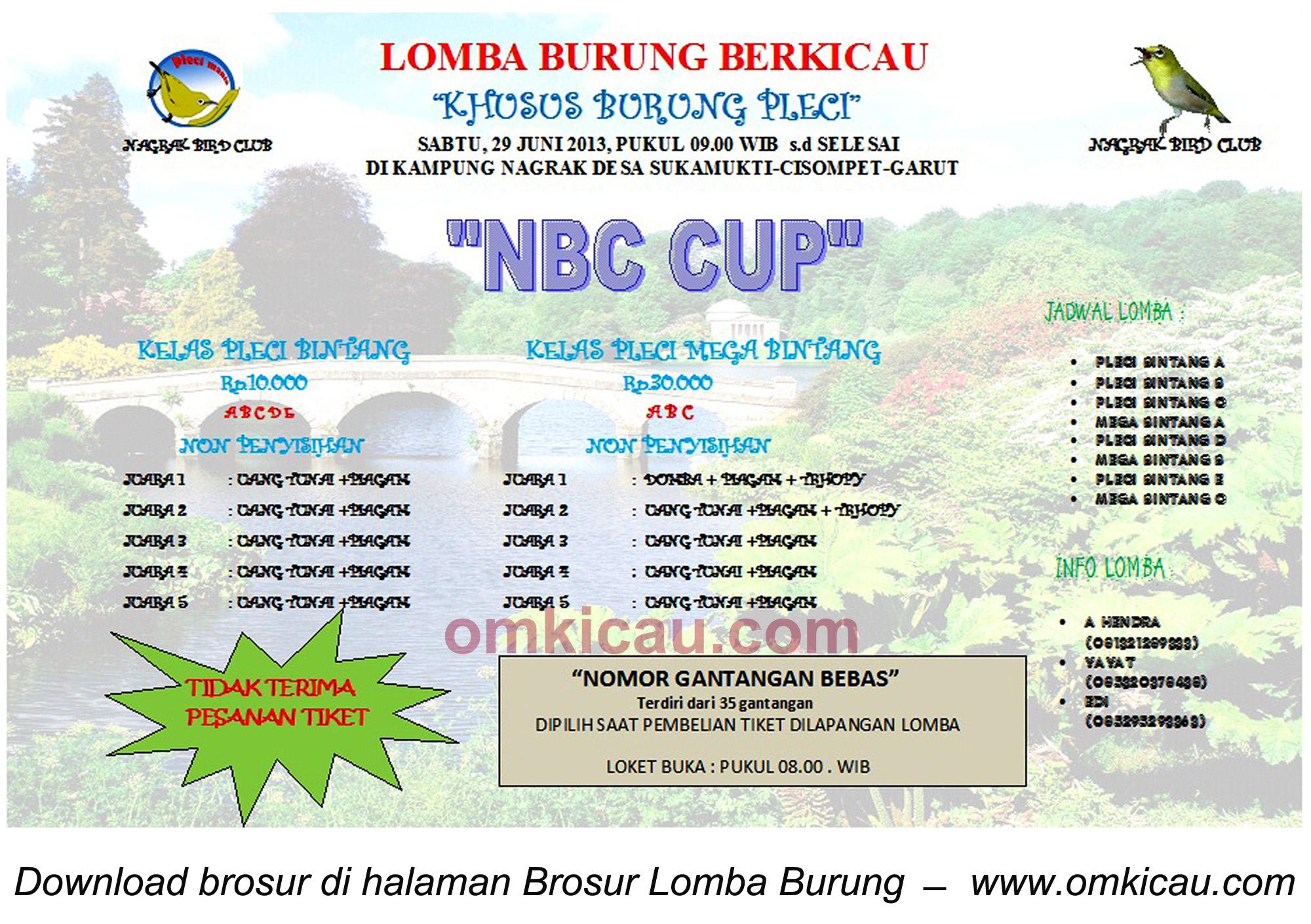 Brosur Lomba Burung Pleci NBC Cup - Garut - 29 Juni 2013