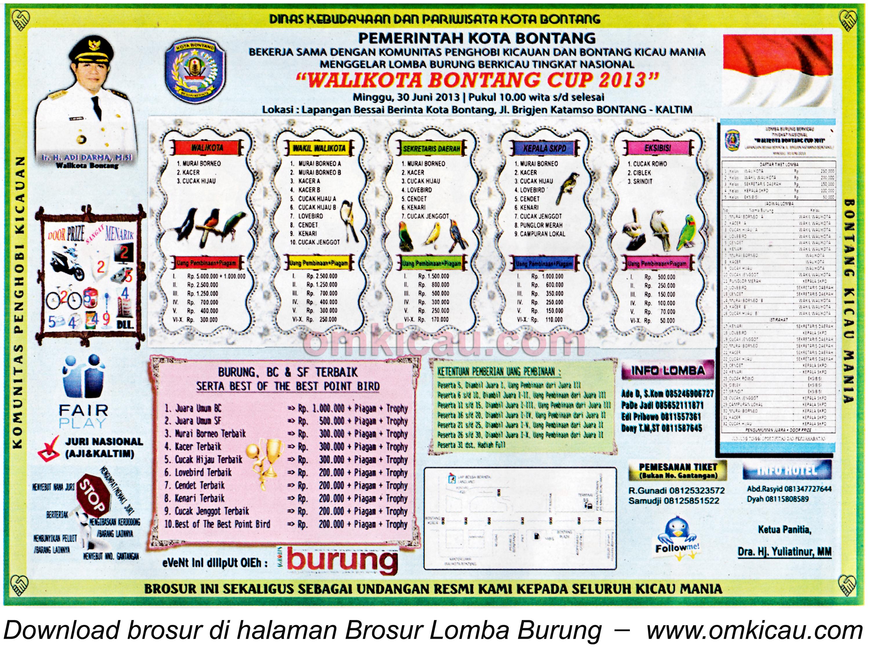 Brosur Lomba Burung Wali Kota Bontang Cup 30 Juni 2013