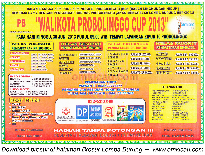 Brosur Lomba Burung Wali Kota Probolinggo Cup 30 Juni 2013