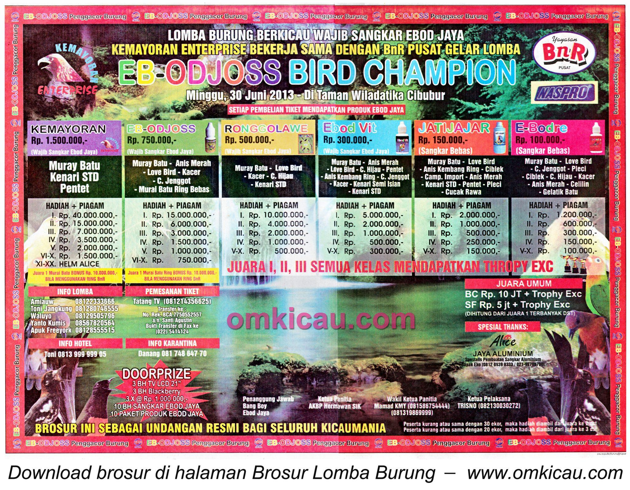 Brosur Lomba EB-Odjoss Bird Champion - Cibubur - 30 Juni 2013