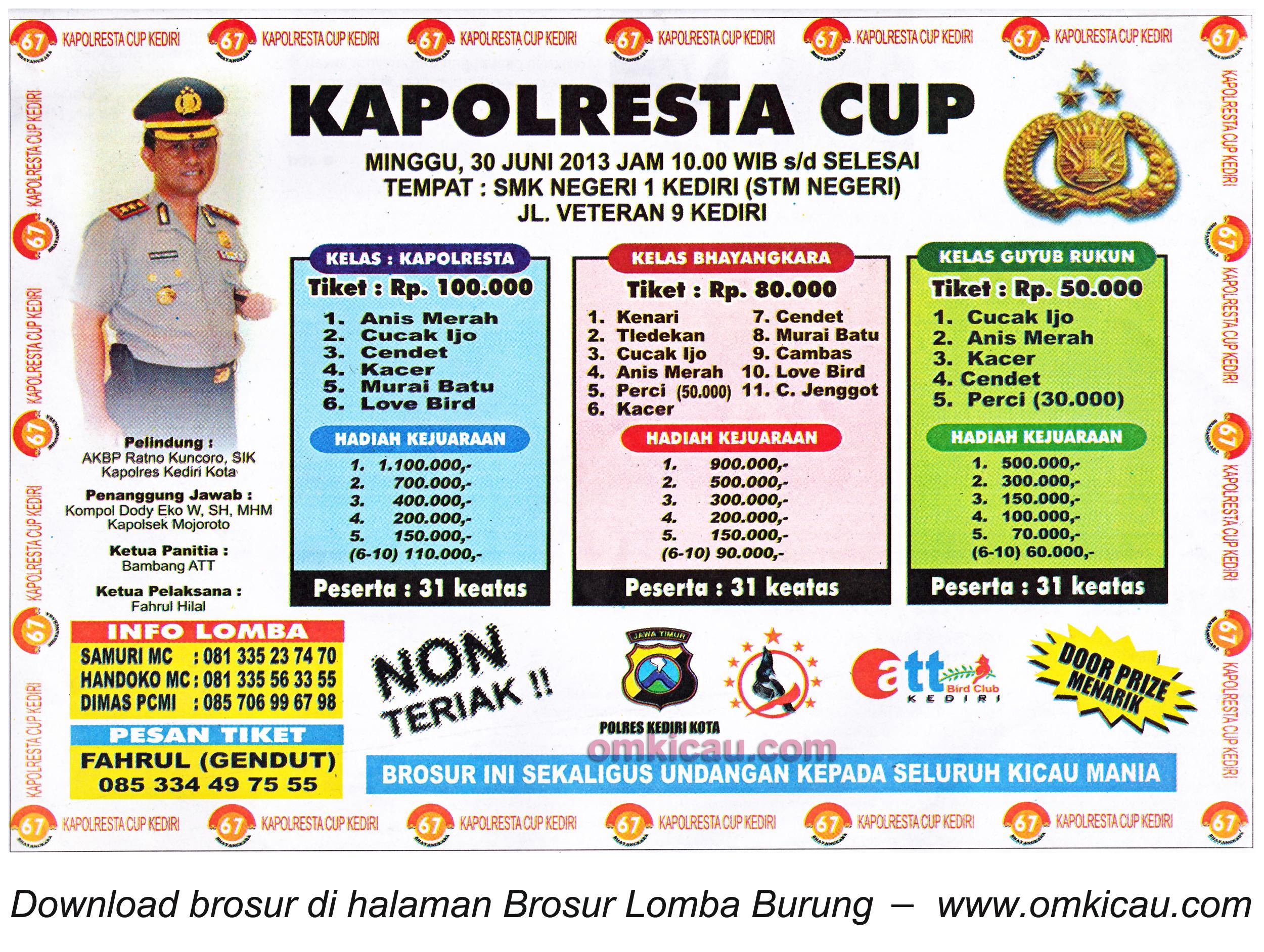Brosur Lomba Kapolresta Cup Kediri 30 Juni 2013