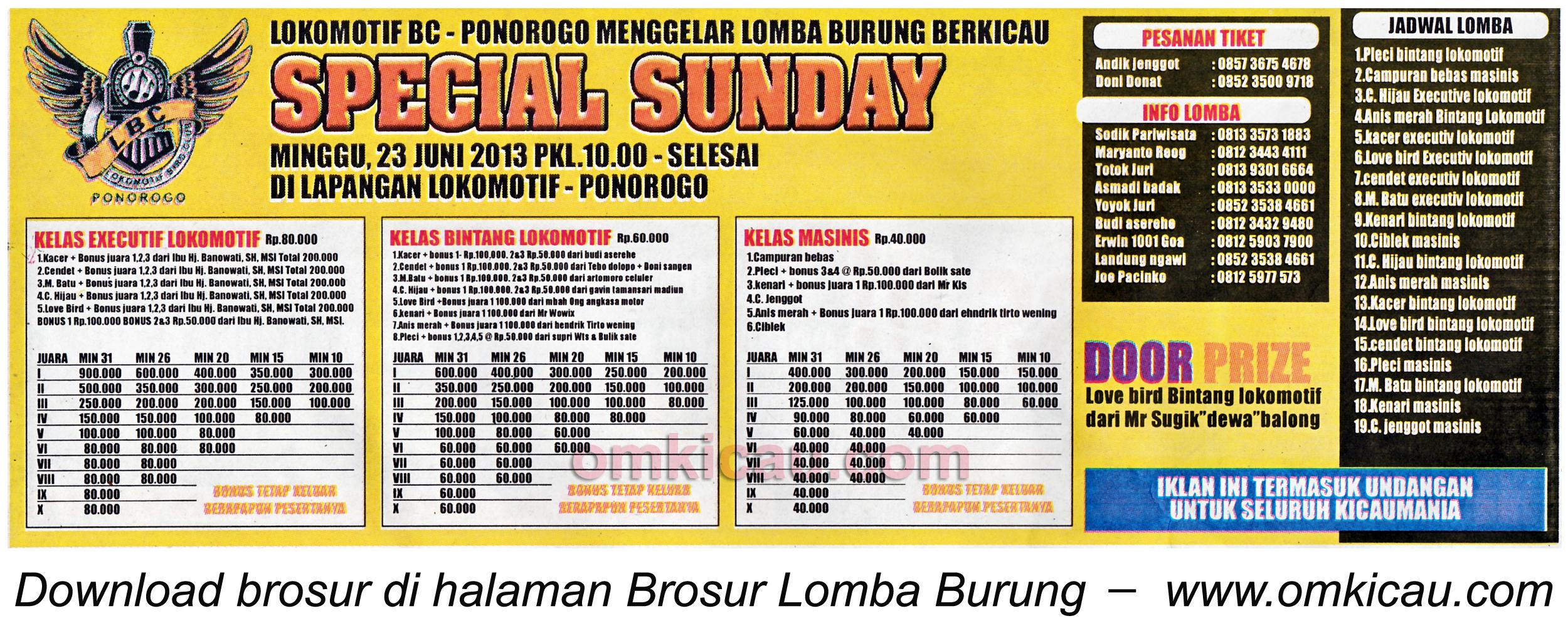 Brosur Lomba Special Sunday Lokomotif BC Ponorogo 23 Juni 2013