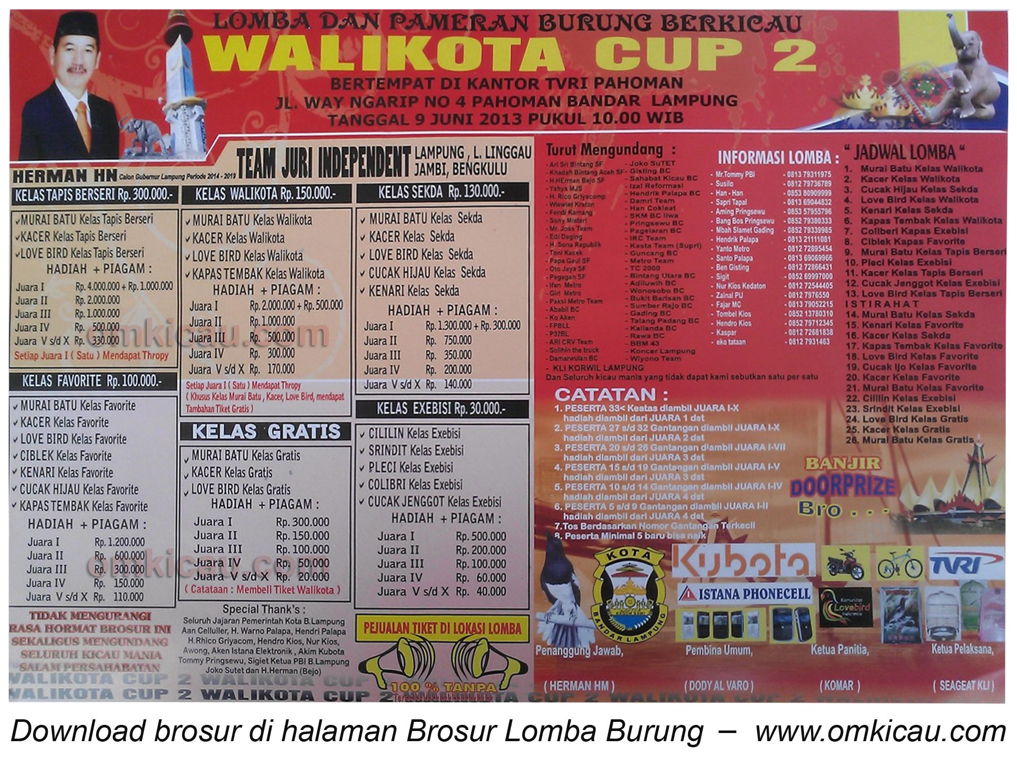 Brosur Lonba Burung Wali Kota Cup 2 Bandar Lampung - 9 Juni 2013