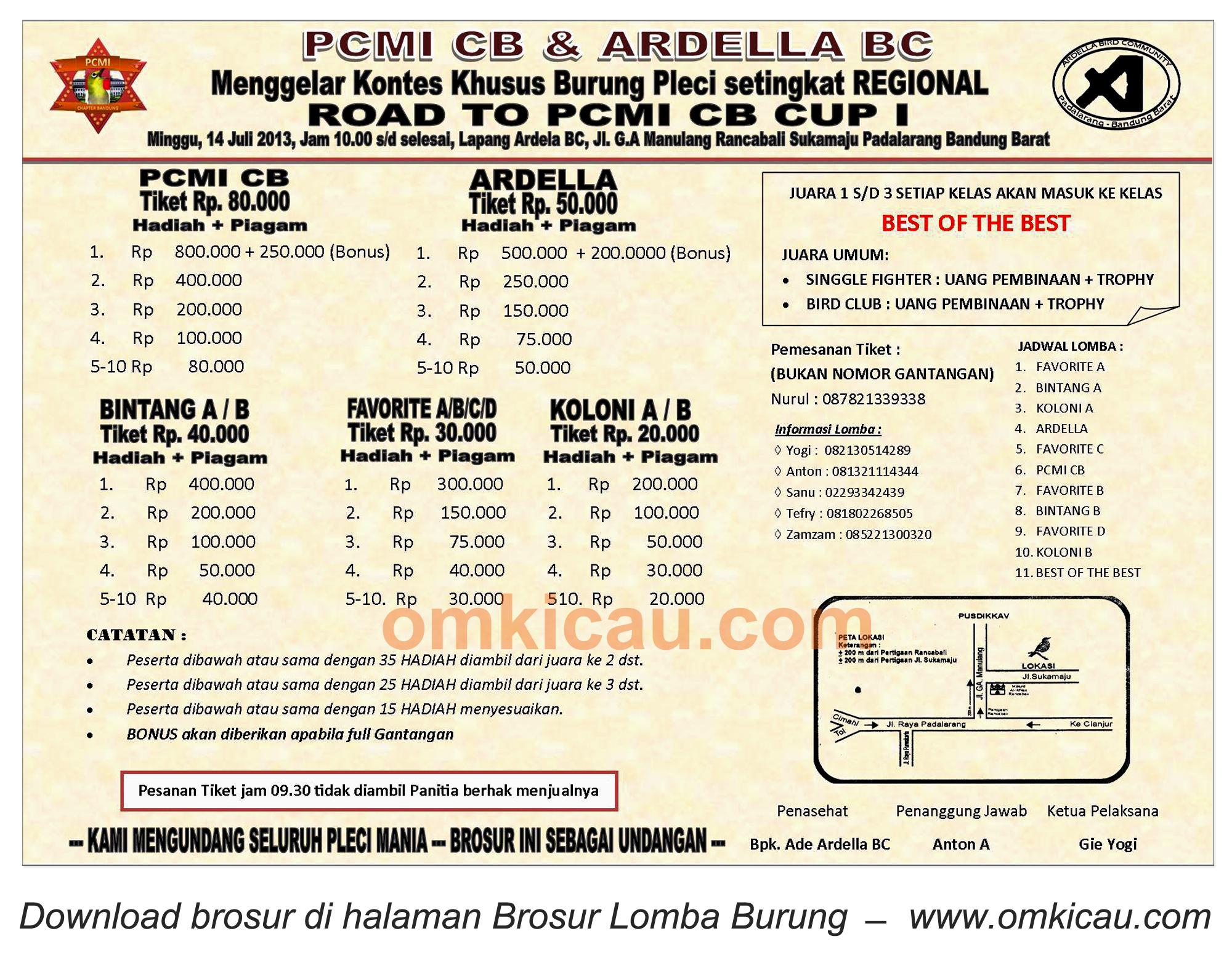 Brosur Kontes Pleci Road to PCMI CB Cup I - Padalarang - 14 Juli 2013