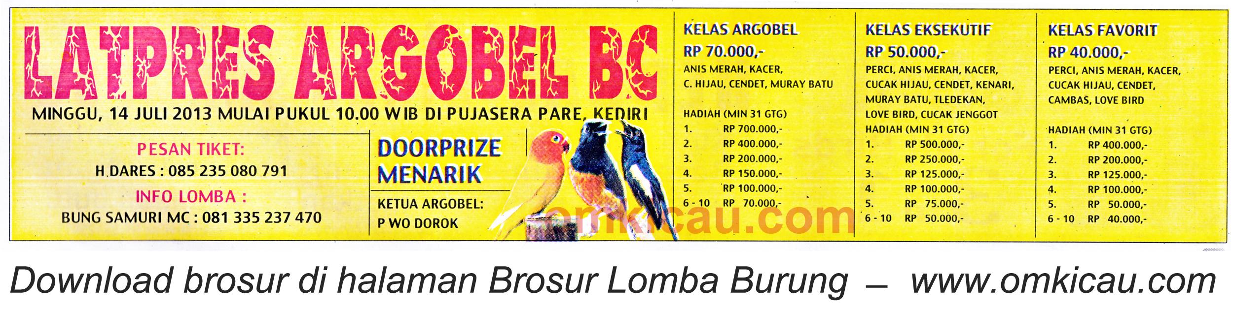 Brosur Latpres Argobel BC Kediri - 14 Juli 2013