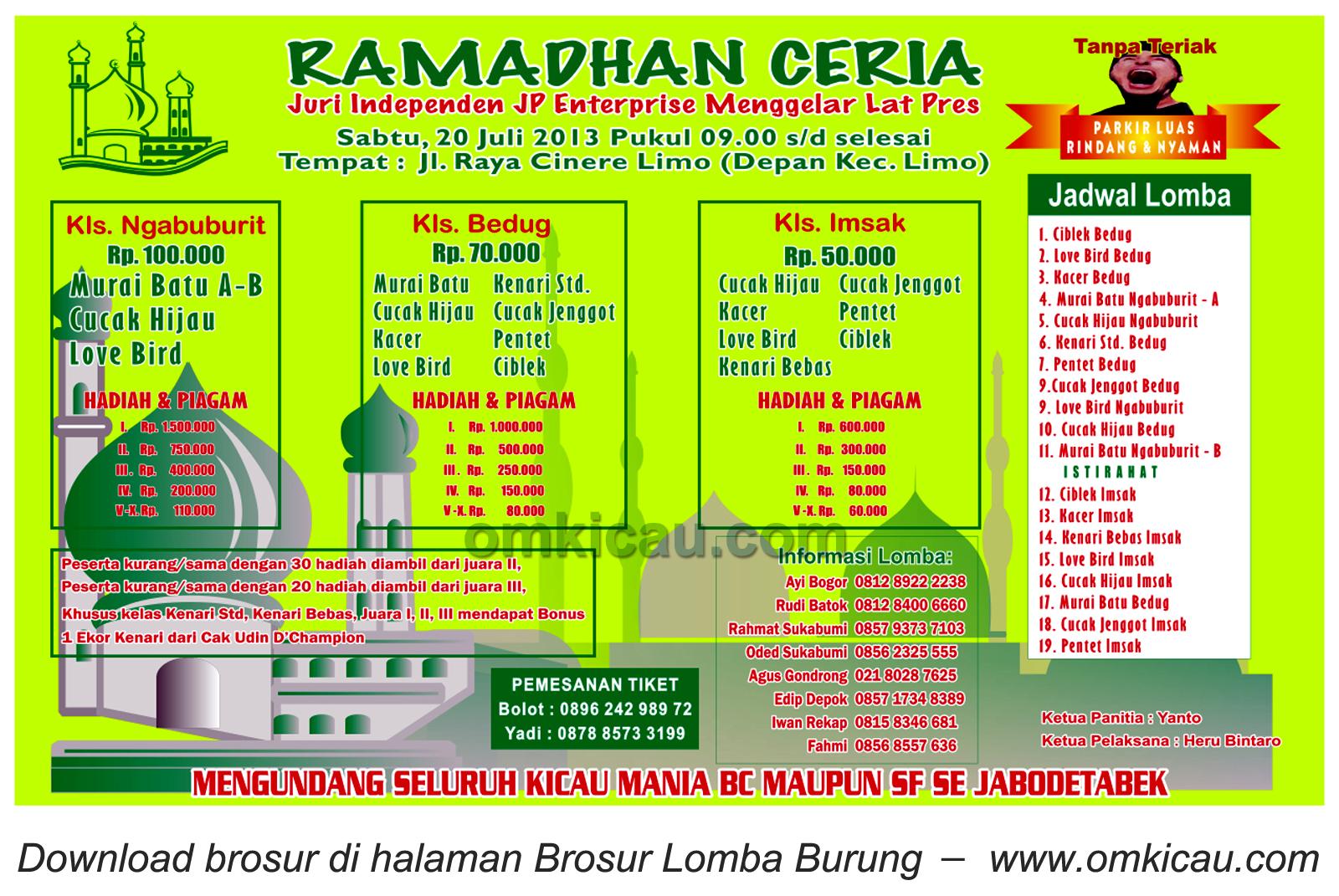 Brosur Latpres Ramadhan Ceria JP Ent Depok 20 Juli 2013