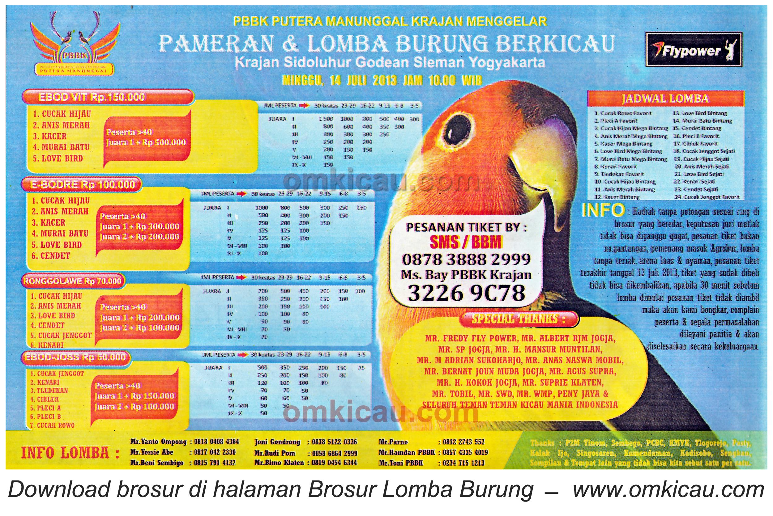Brosur Lomba Burung Bekicau PBBK Krajan - Jogja 14 Juli 2013