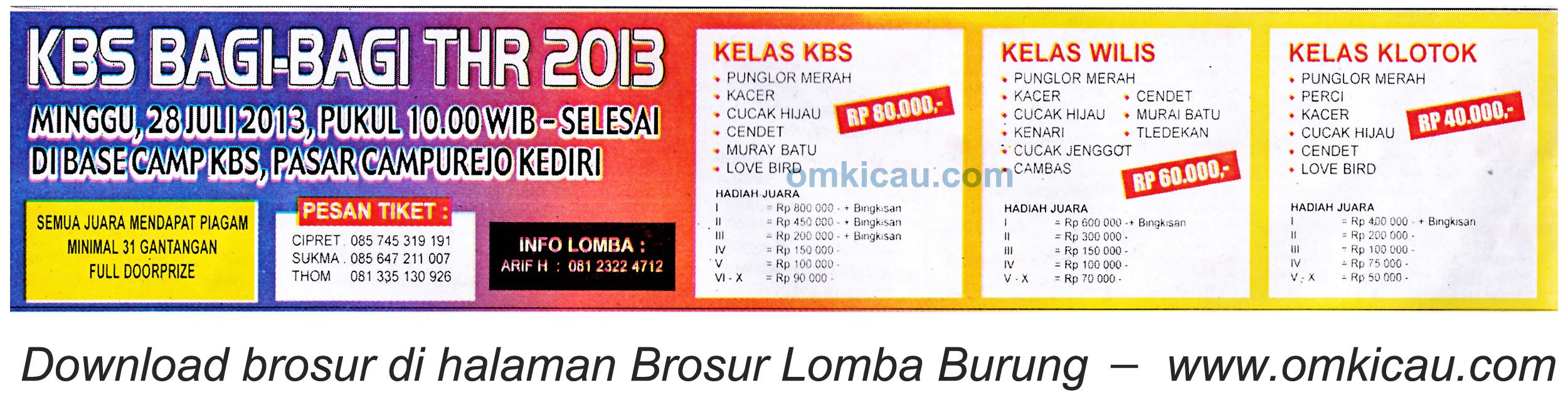 Brosur Lomba Burung KBS Bagi-bagi THR - Kediri 28 Juli 2013
