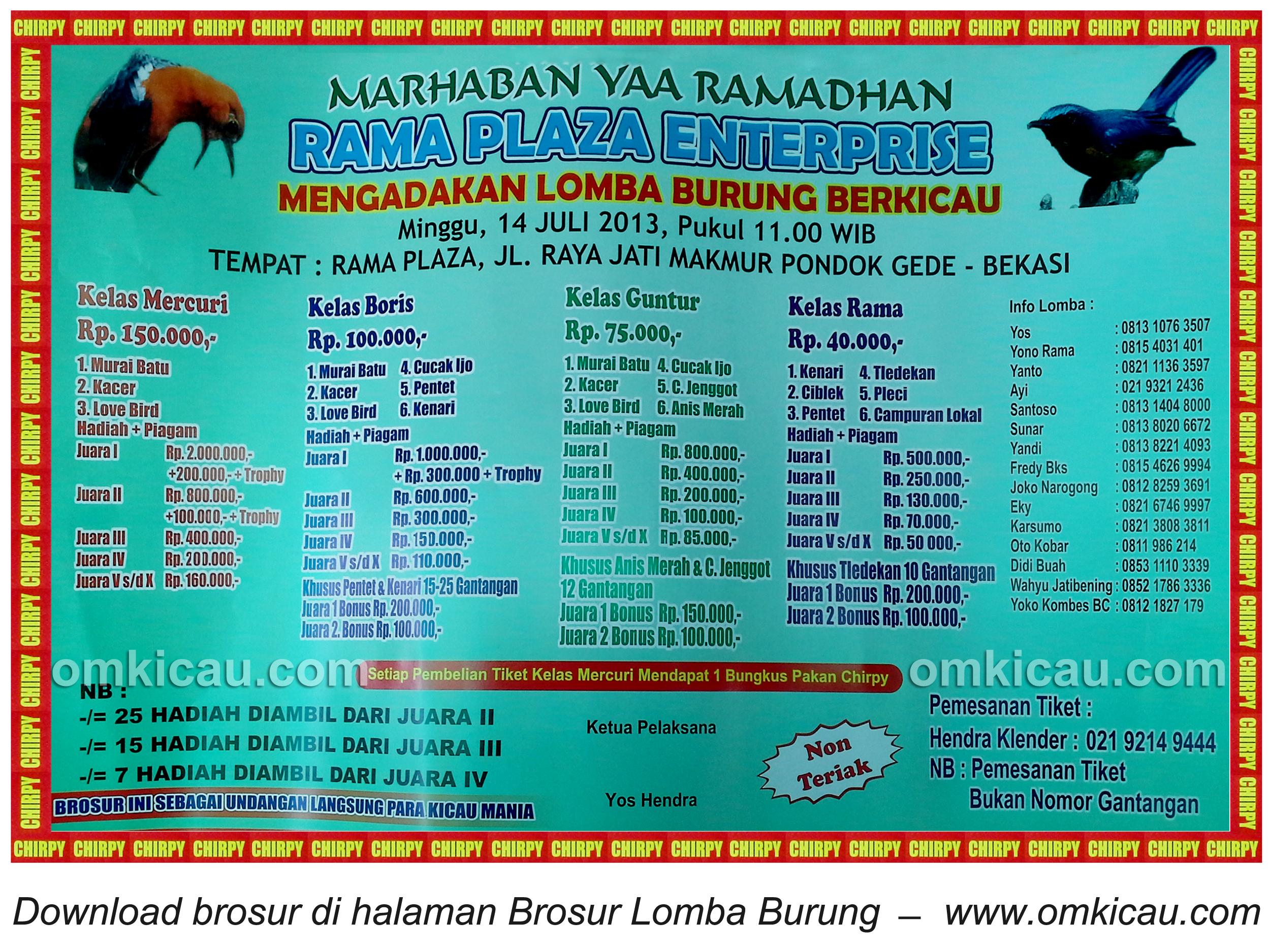 Brosur Lomba Burung Rama Plaza Enterprise - Bekasi - 14 Juli 2013