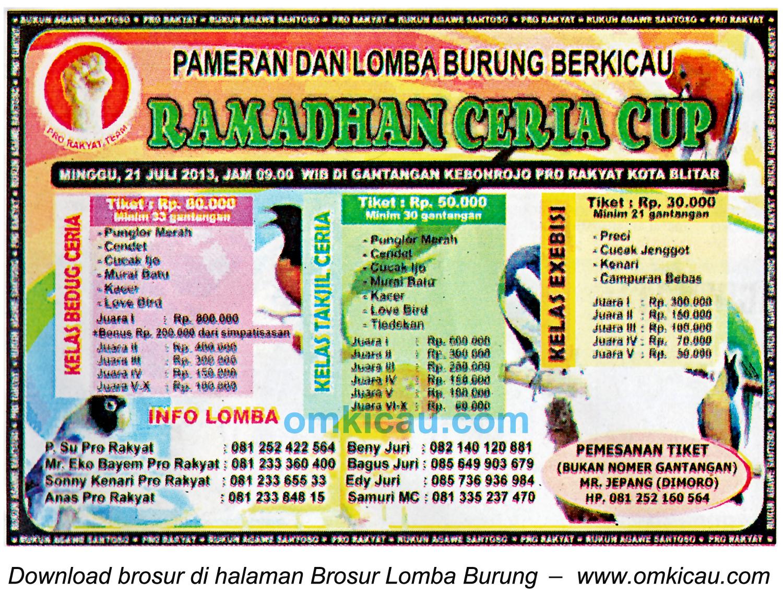 Brosur Lomba Burung Ramadhan Ceria Cup Blitar 21 Juli 2013
