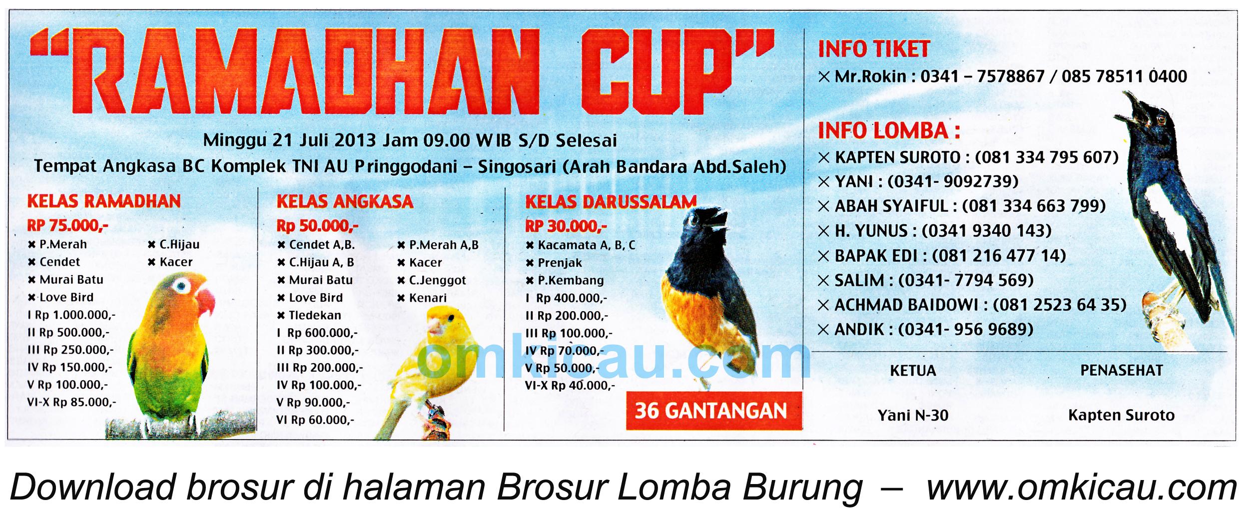 Brosur Lomba Burung Ramadhan Cup - Kab Malang - 21 Juli 2013