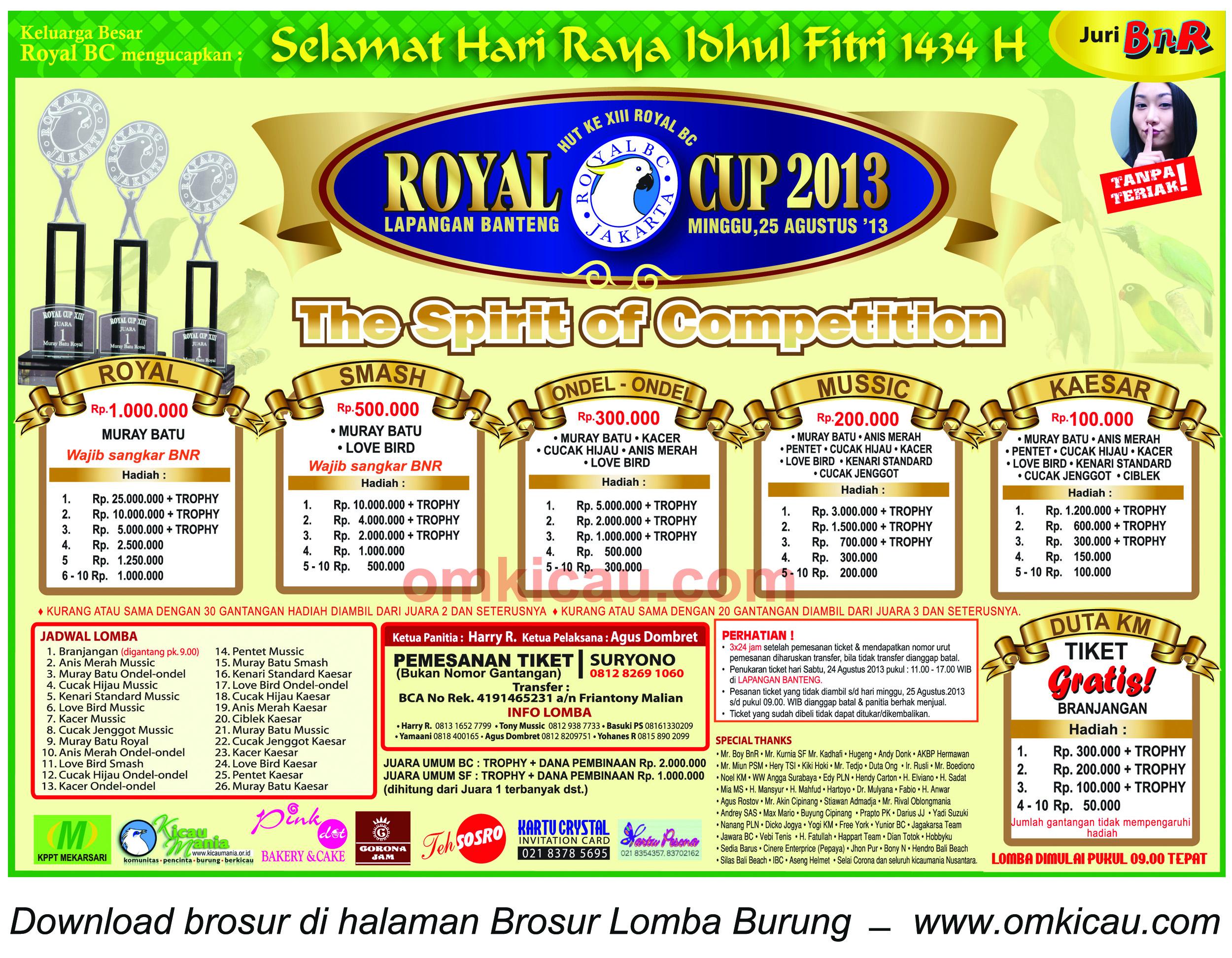 Brosur Lomba Burung Royal Cup Jakarta