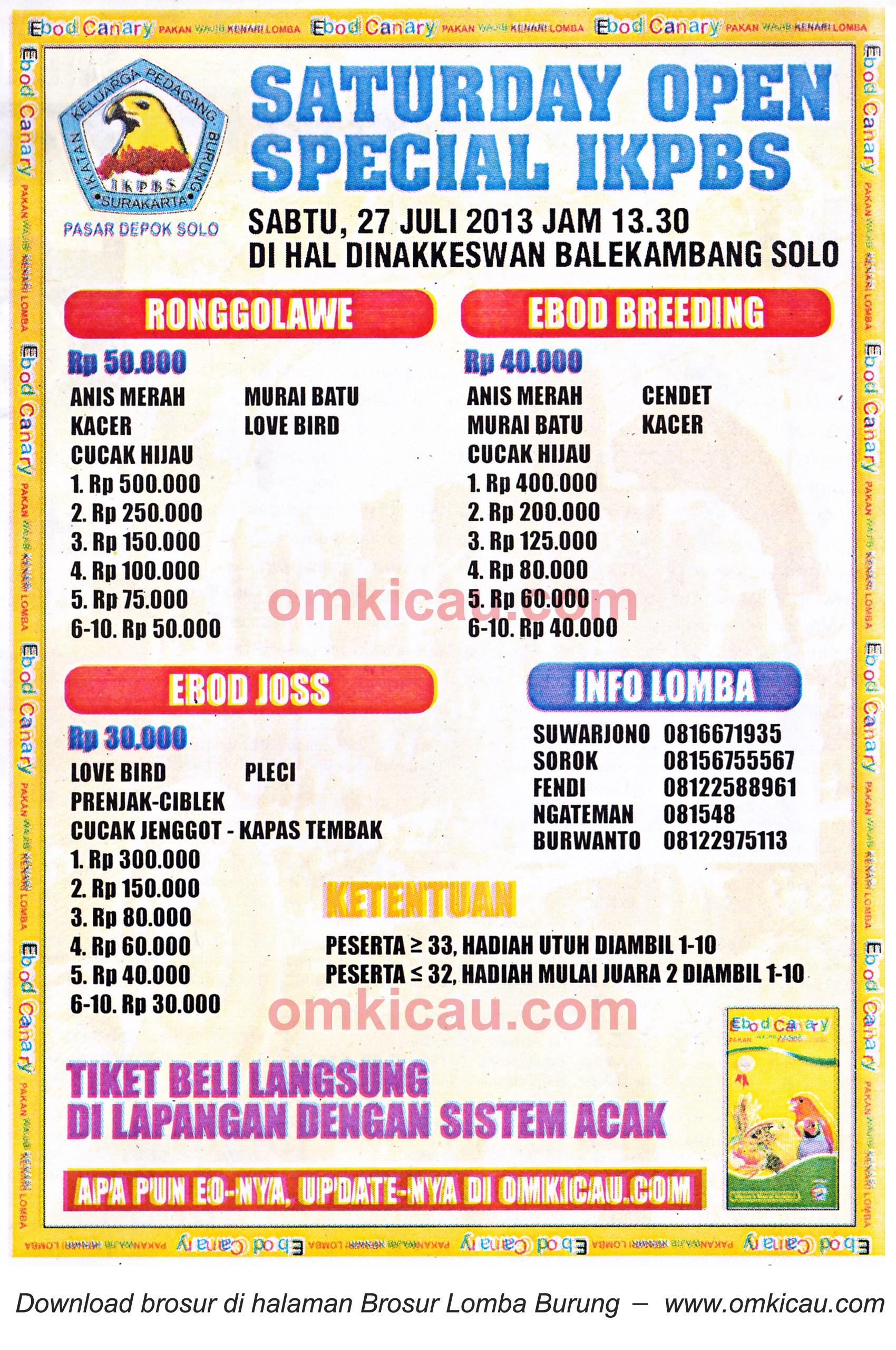 Brosur Lomba Burung Special Open IKPBS Solo 27 Juli 2013